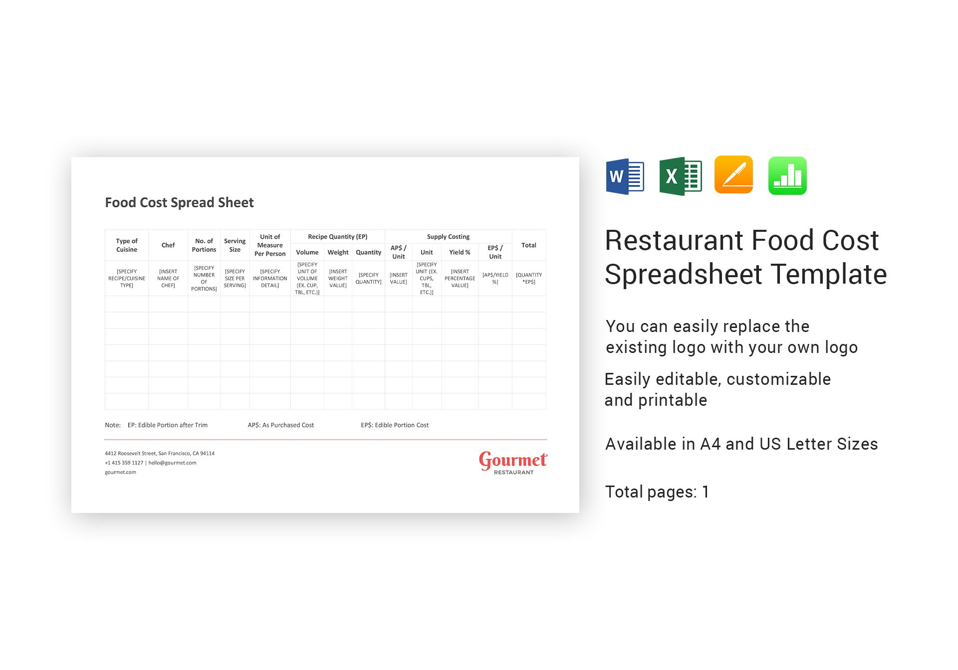 restaurant food cost spreadsheet template in word excel apple