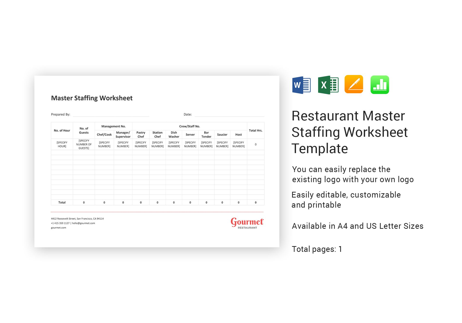 Restaurant Master Staffing Worksheet