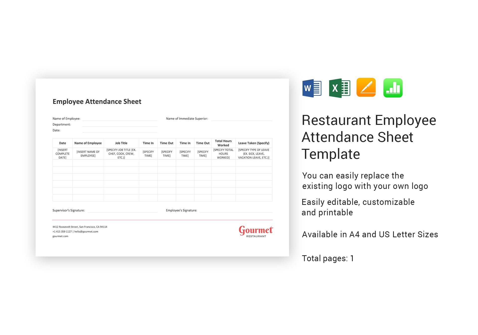 Restaurant Employee Attendance Sheet