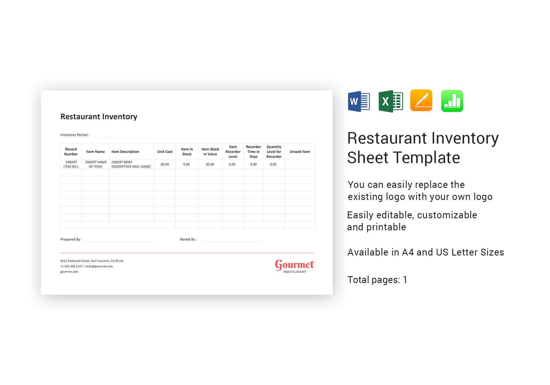 restaurant inventory sheet excel