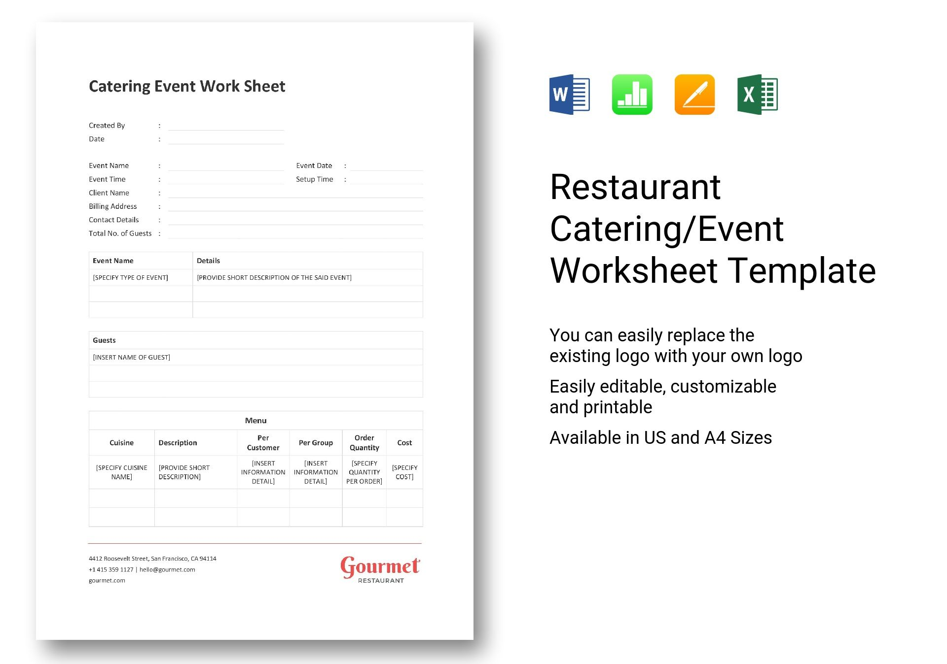 Restaurant Catering Event Worksheet Template