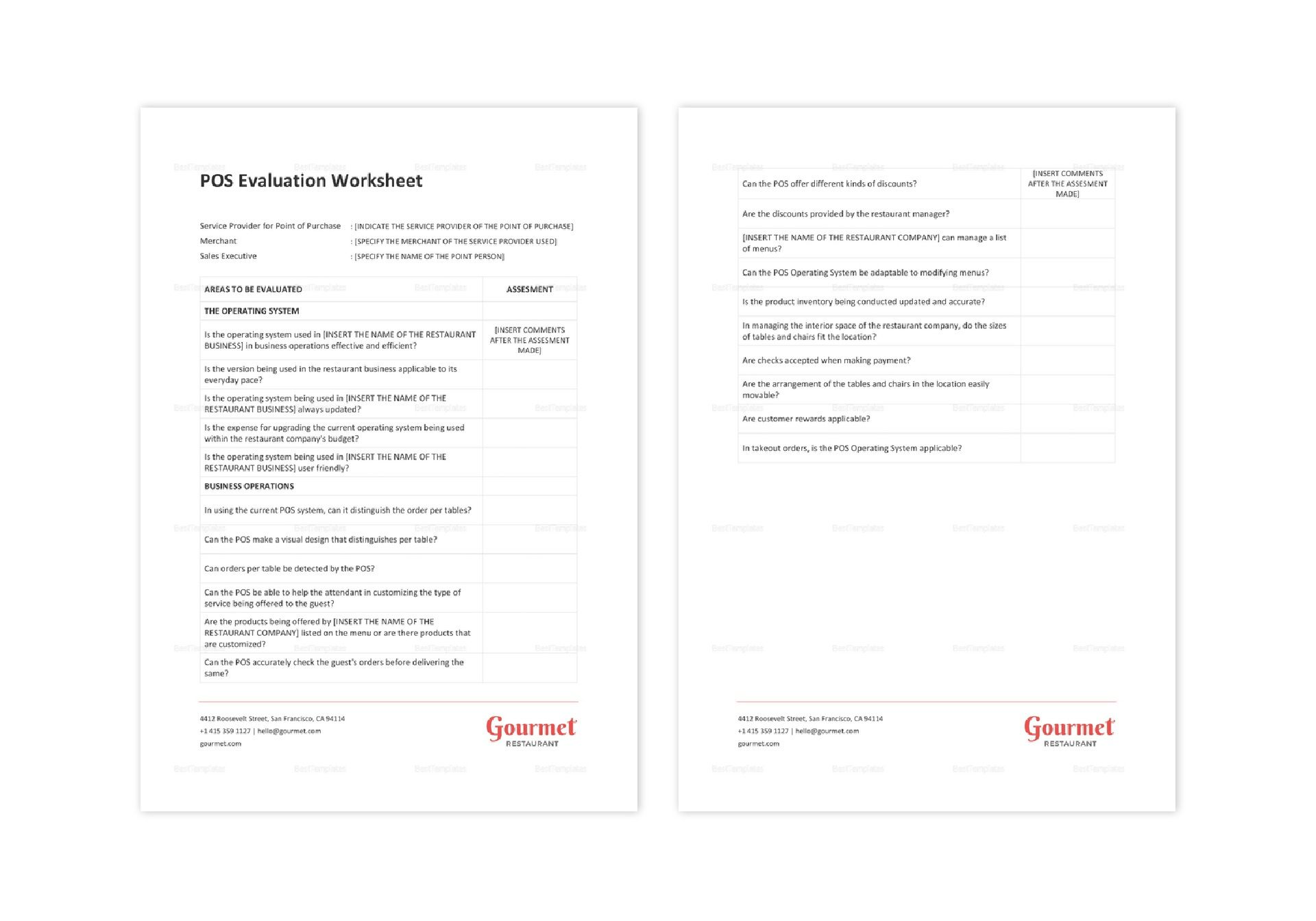 Restaurant POS Evaluation Worksheet