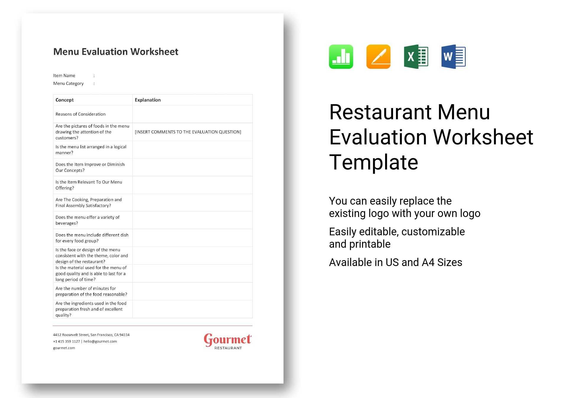 Restaurant Menu Evaluation Worksheet