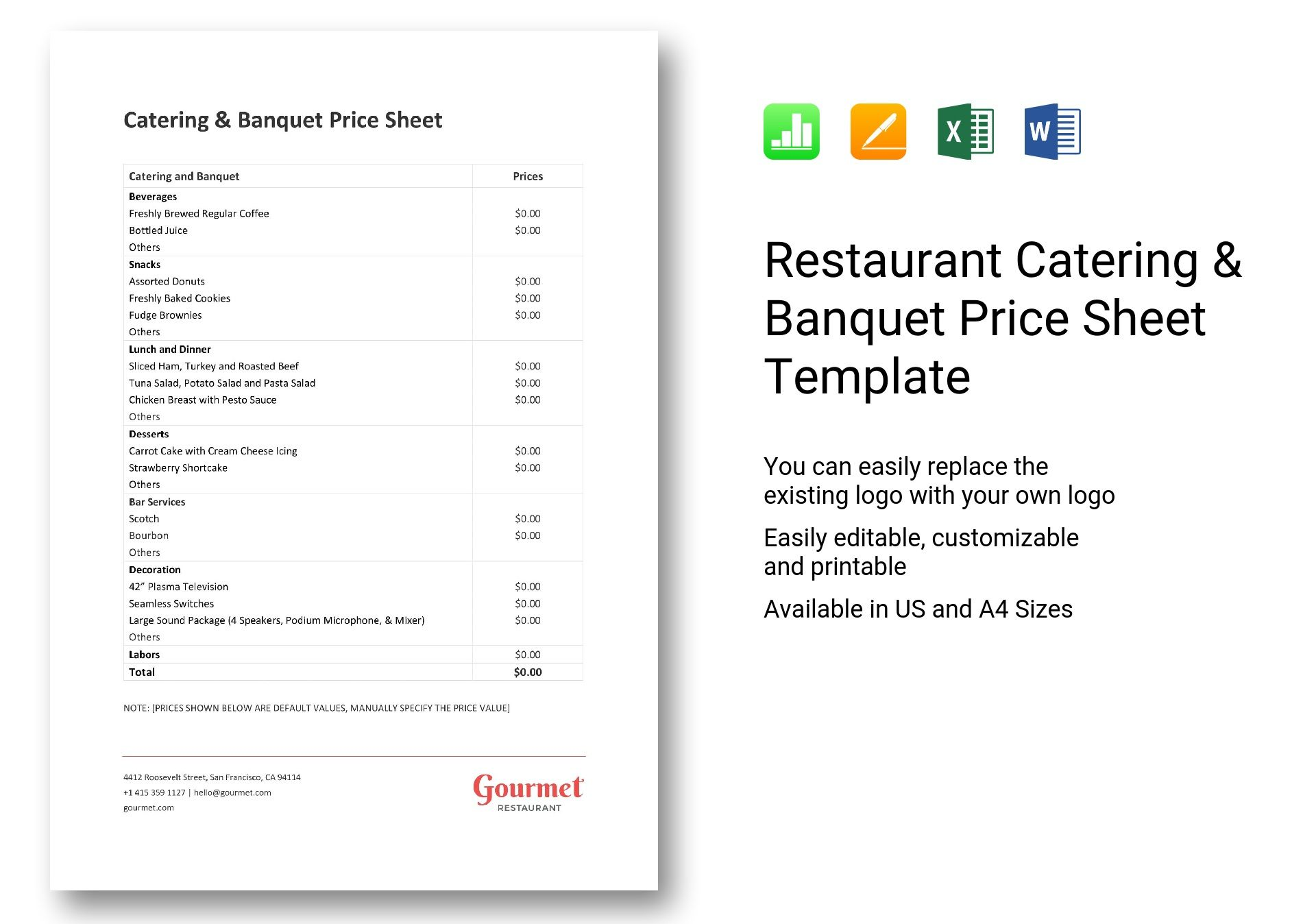Restaurant Catering and Banquet Price Sheet