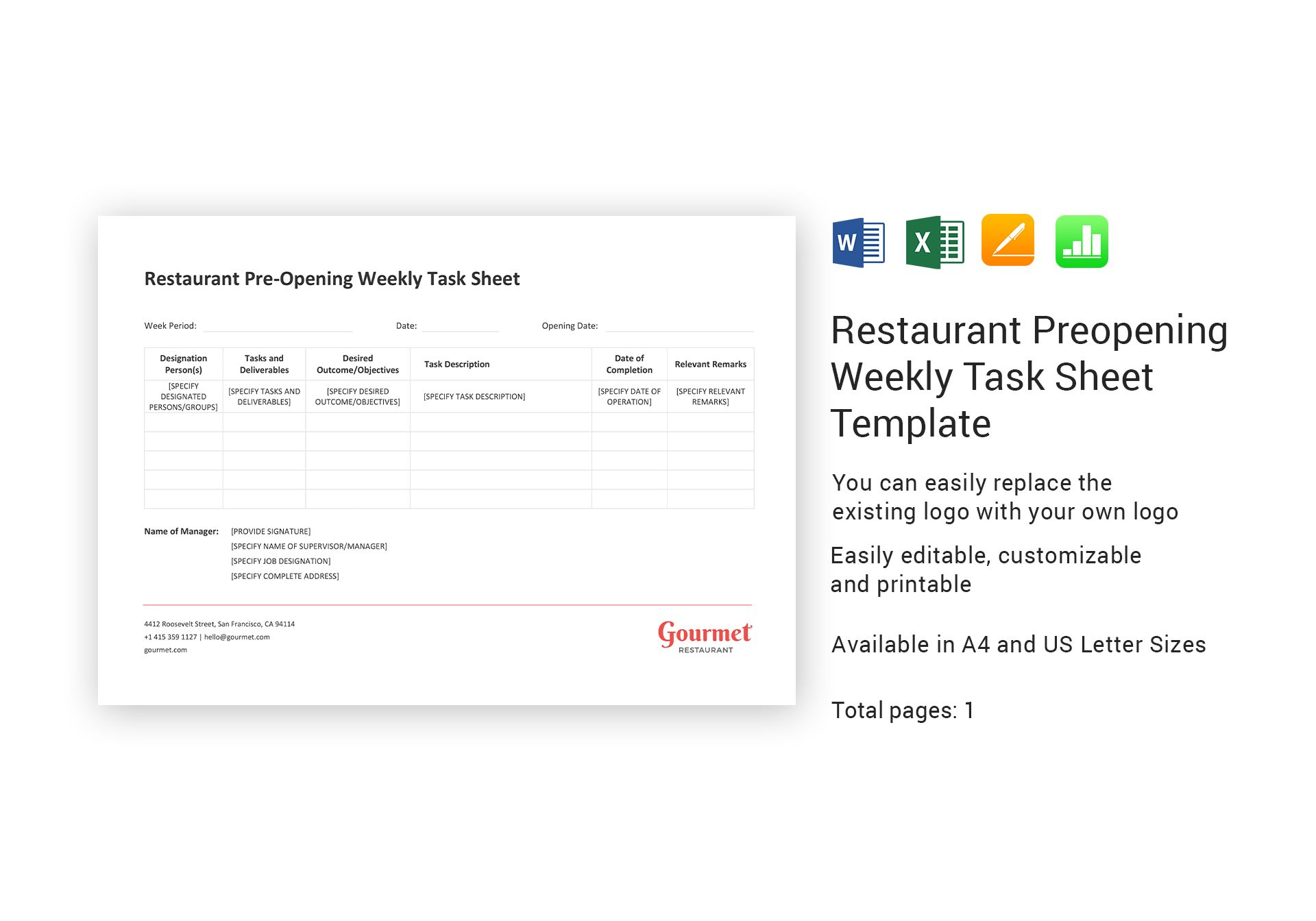 Restaurant Preopening Weekly Task Sheet