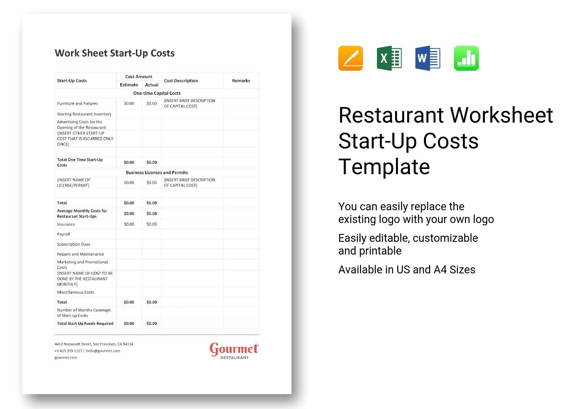 restaurant worksheet start