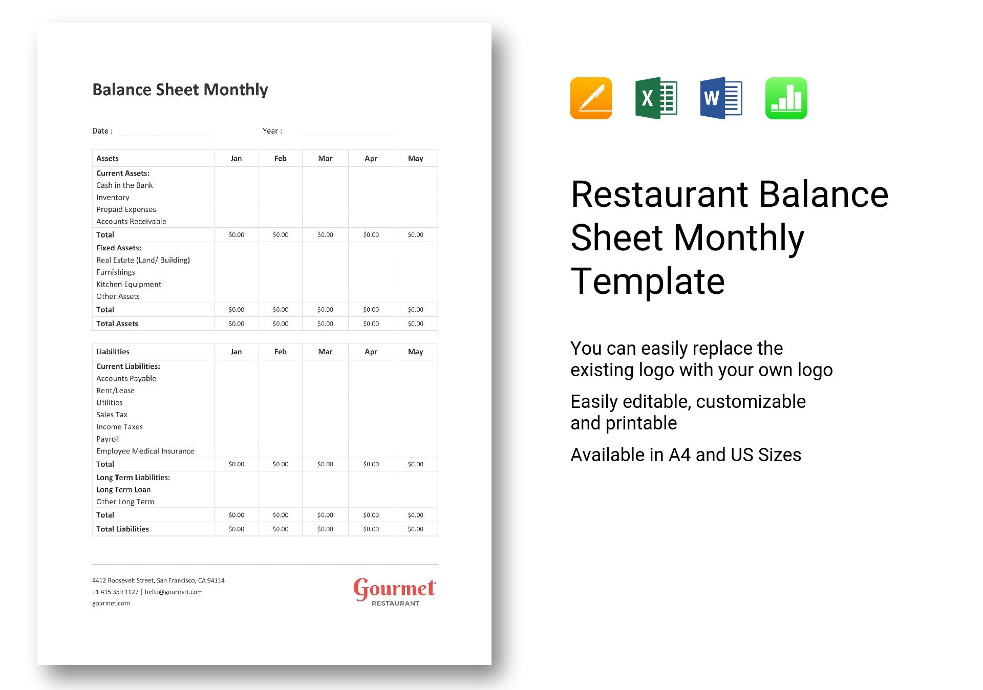 Restaurant Balance Sheet Monthly