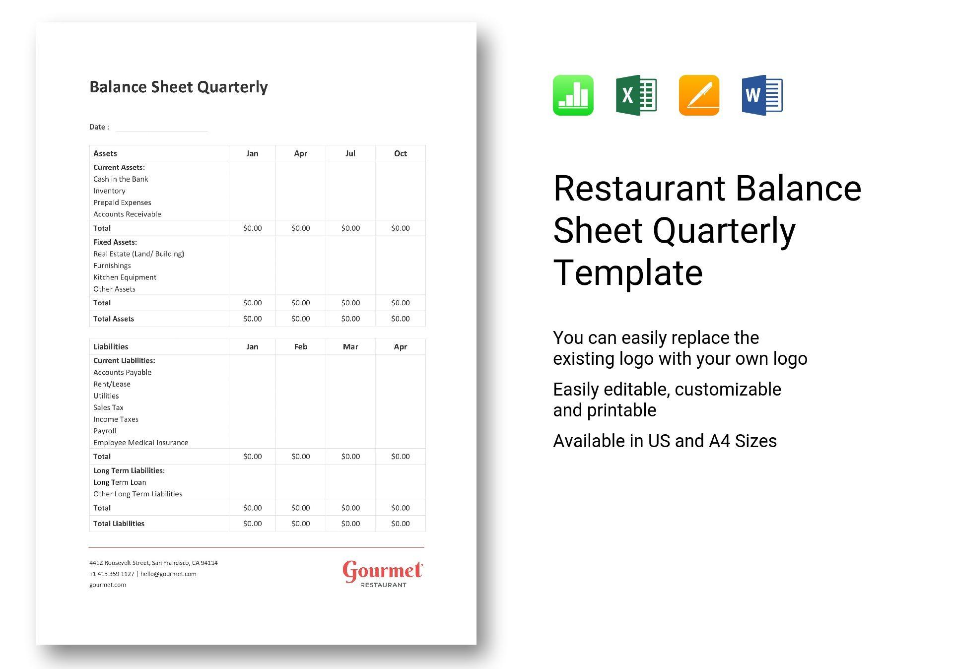 Restaurant Balance Sheet Quarterly