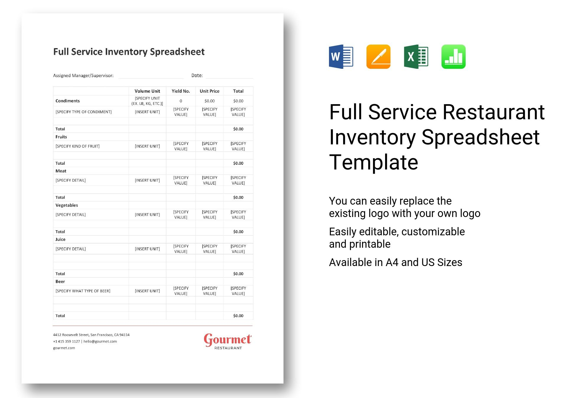 full service restaurant inventory spreadsheet template in word