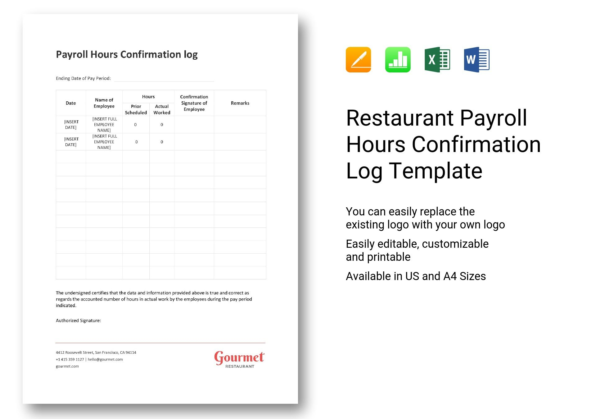 Restaurant Payroll Hours Confirmation Log Template in Word ...