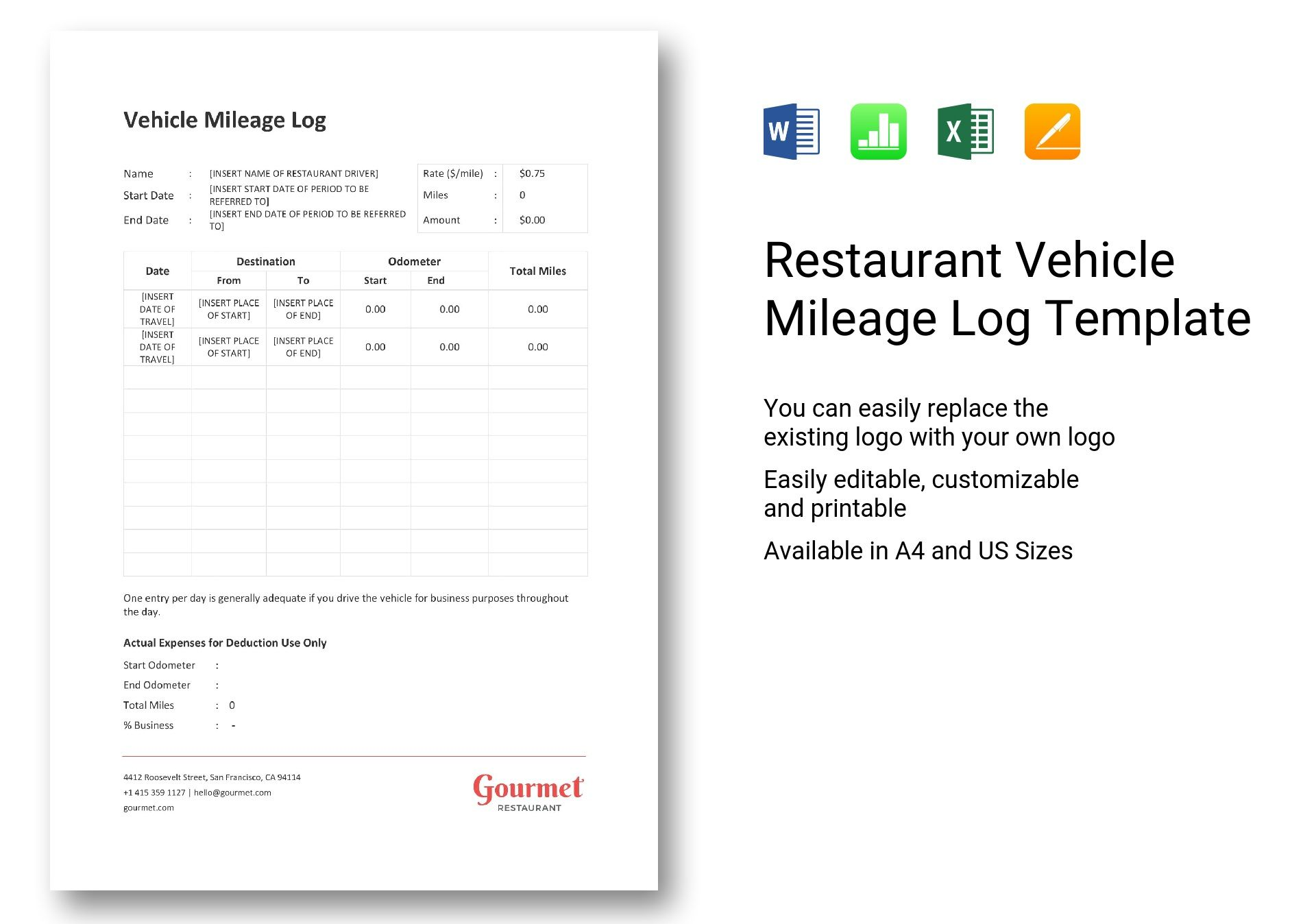 vehicle mileage log excel
