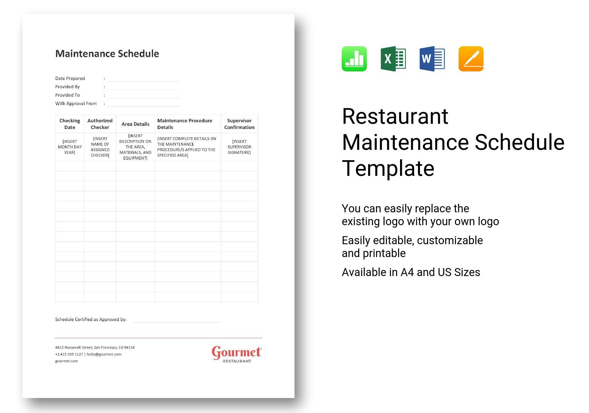 Restaurant Maintenance Schedule