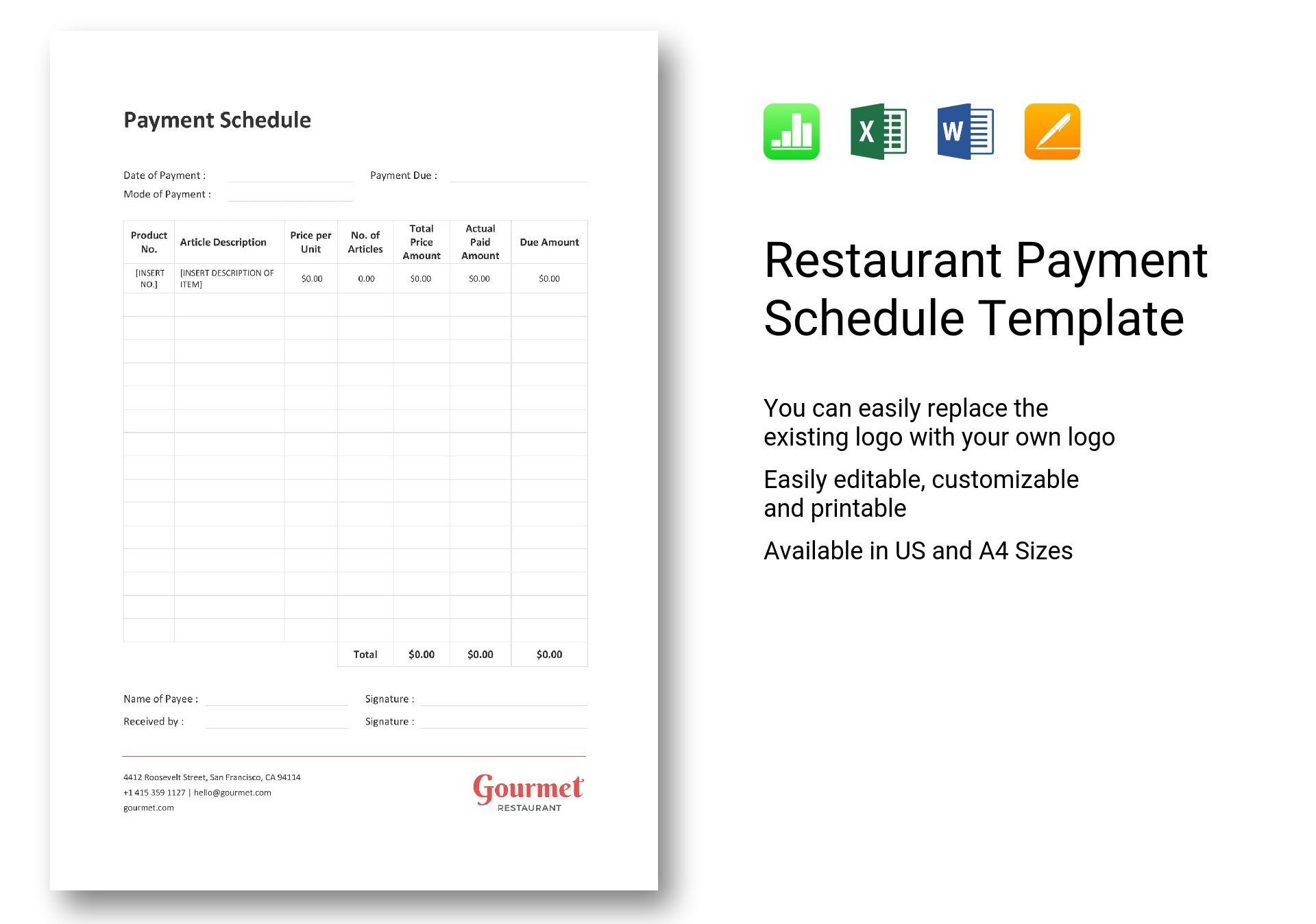 Restaurant Payment Schedule