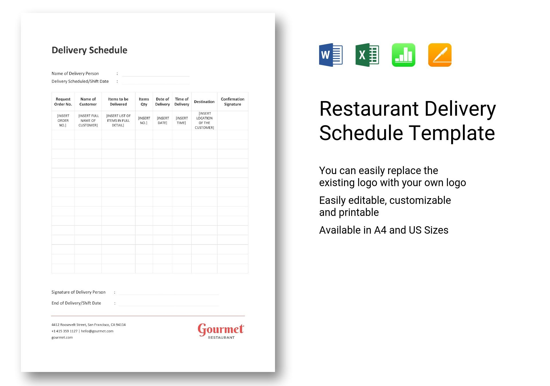Restaurant Delivery Schedule