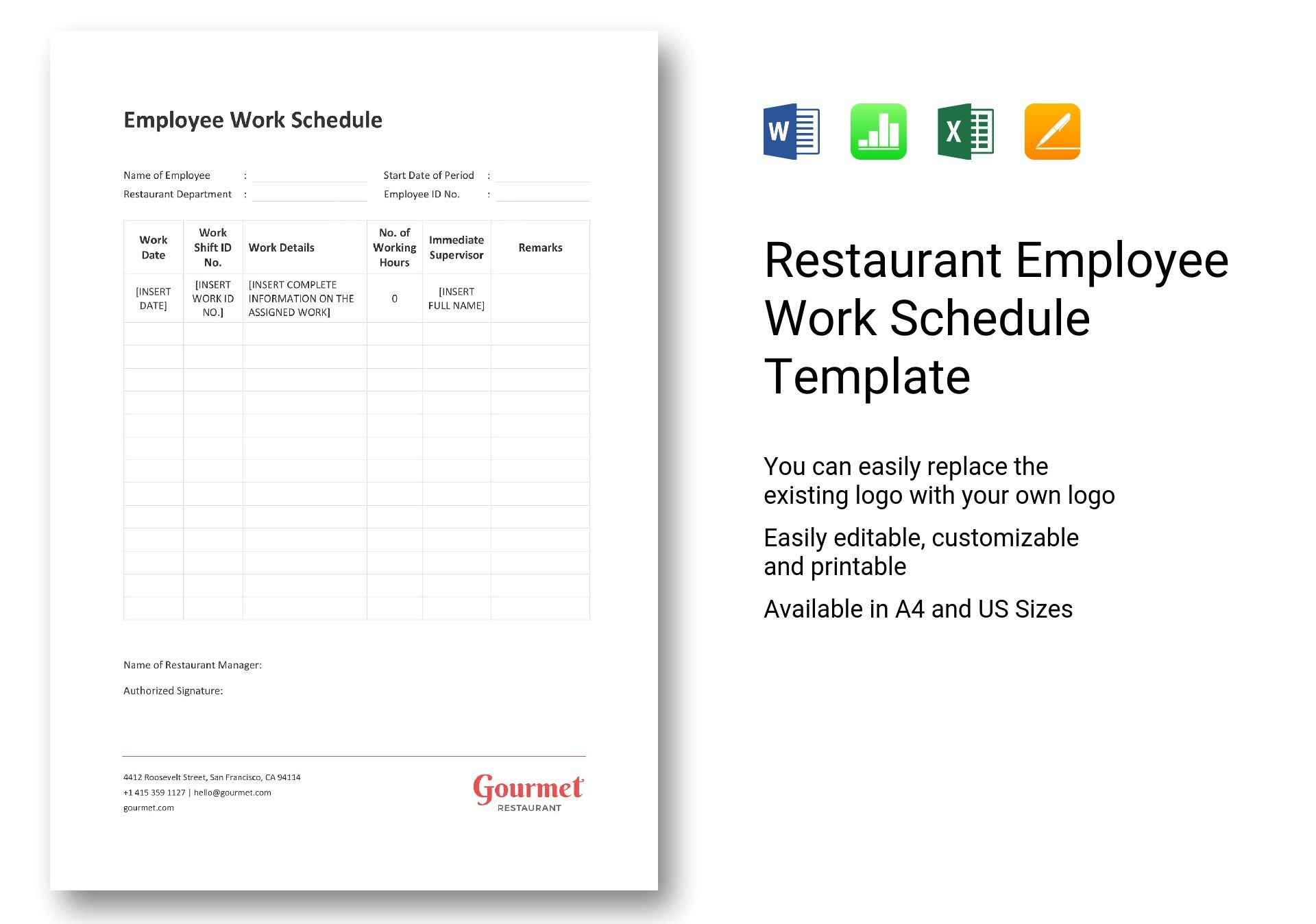 Restaurant Employee Work Schedule
