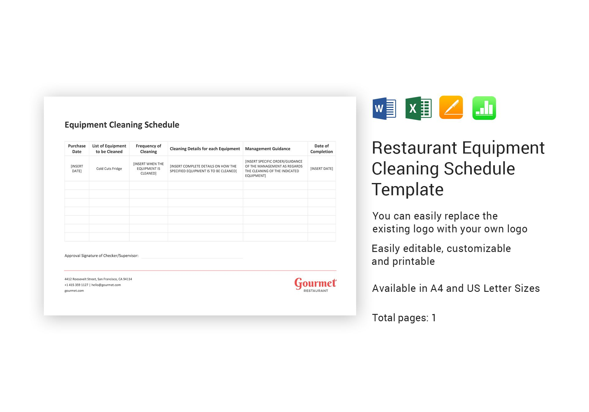 Restaurant Equipment Cleaning Schedule