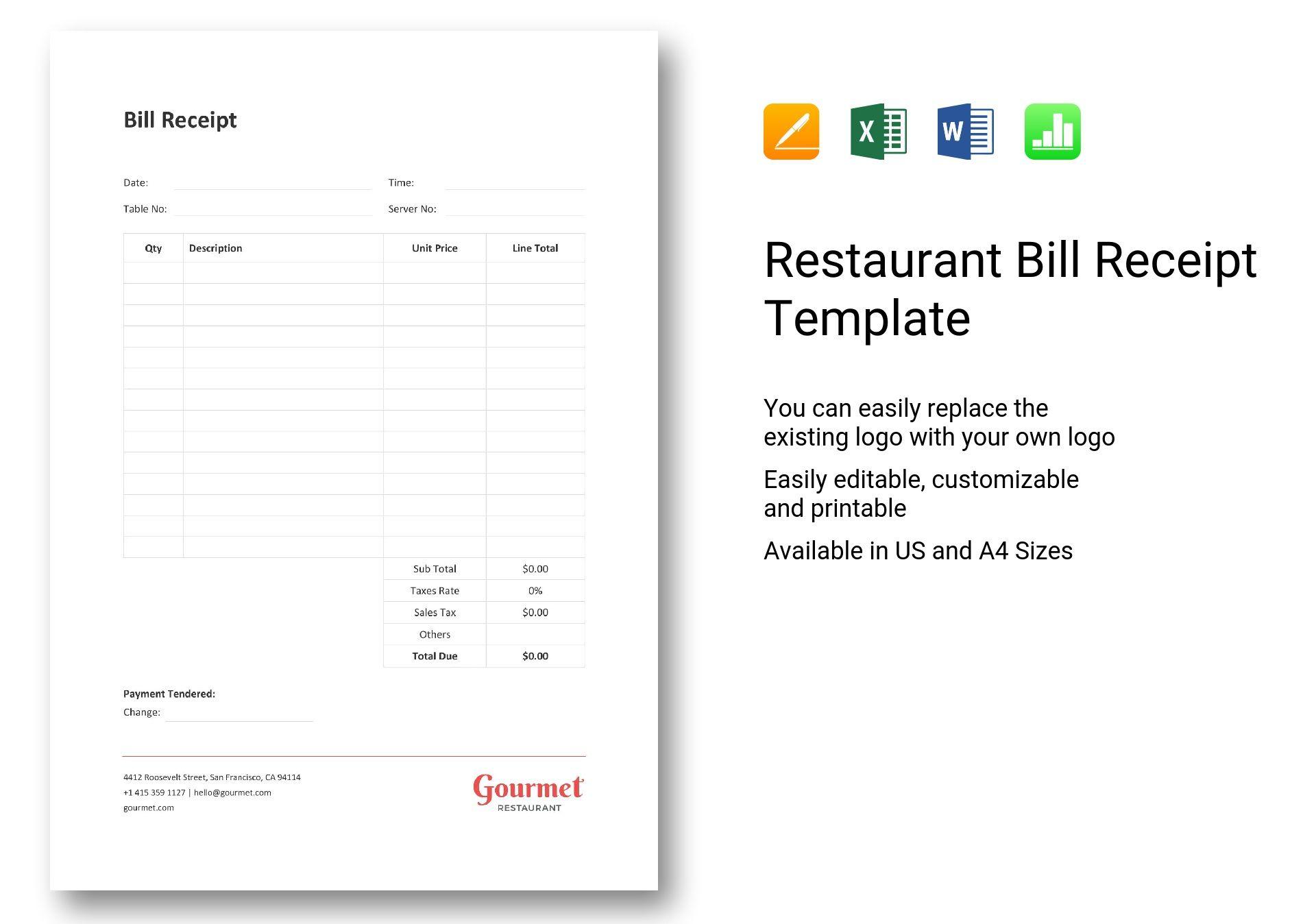 Restaurant Bill Receipt
