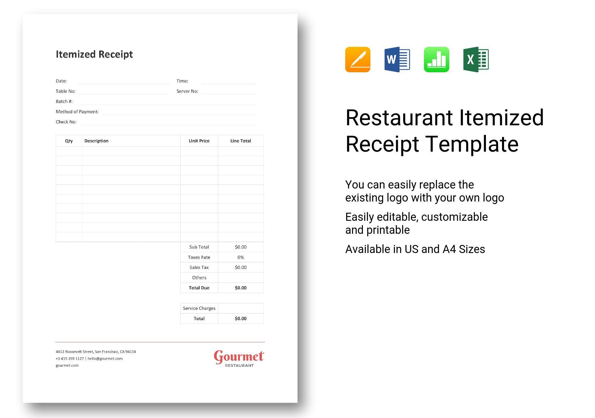 Restaurant Itemized Receipt