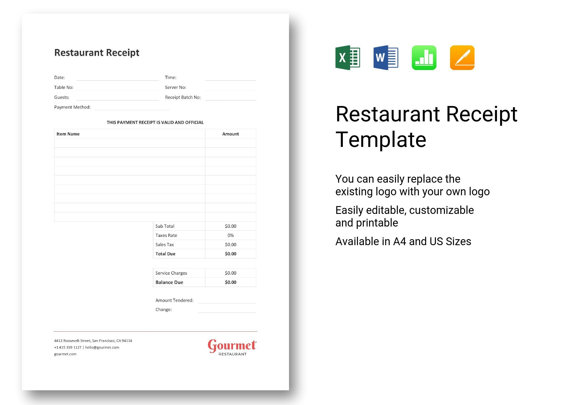 sample restaurant receipt template in word  excel  apple