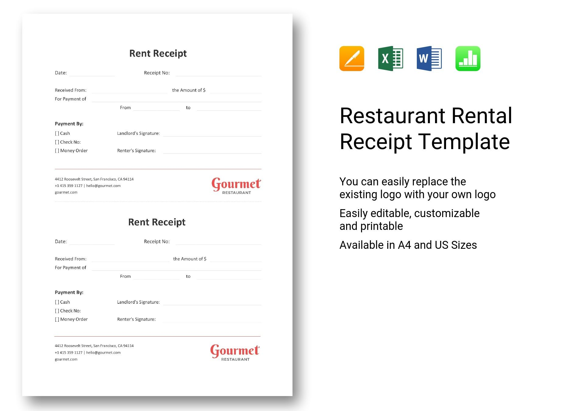 Restaurant Rental Receipt