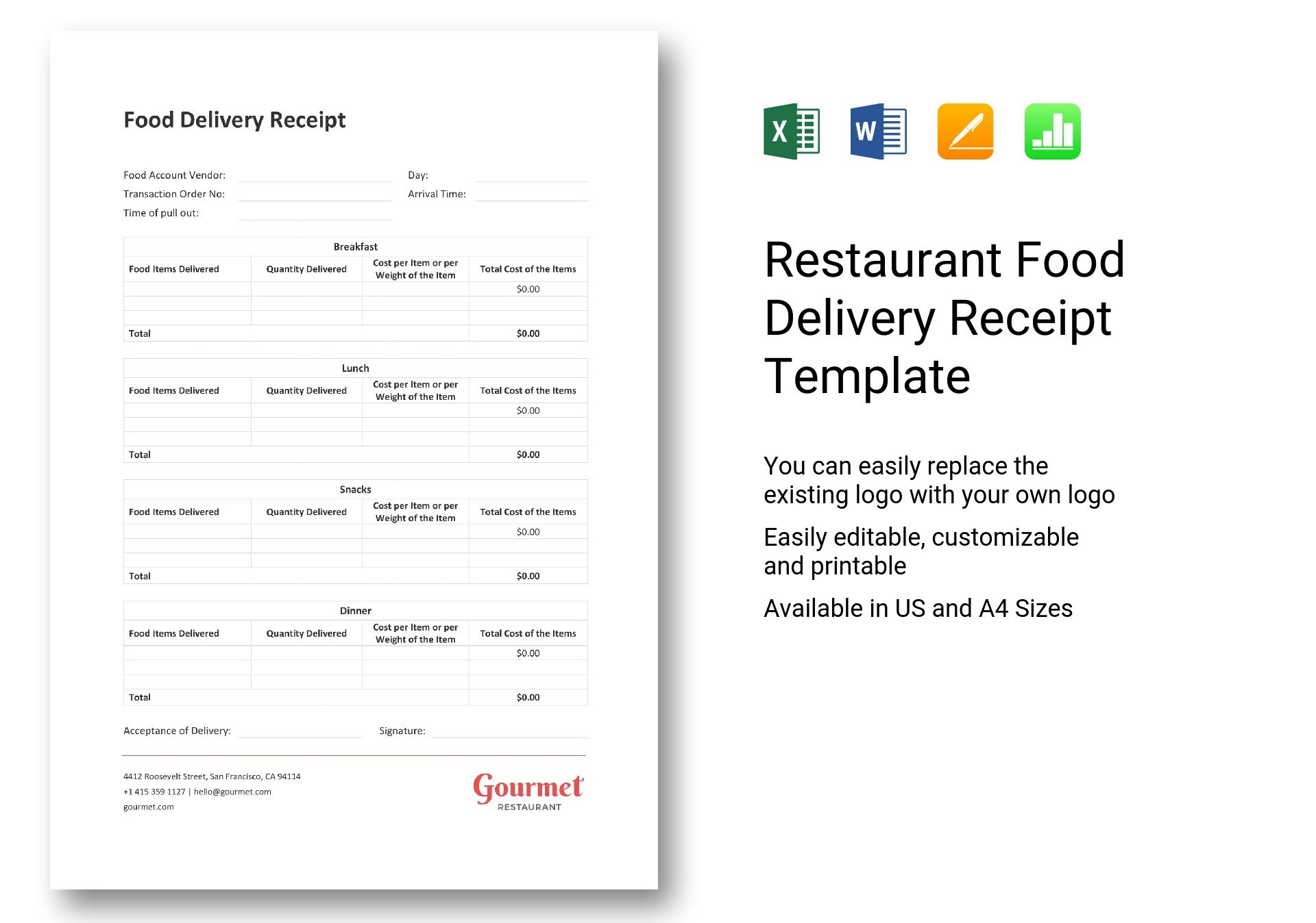 Restaurant Food Delivery Receipt