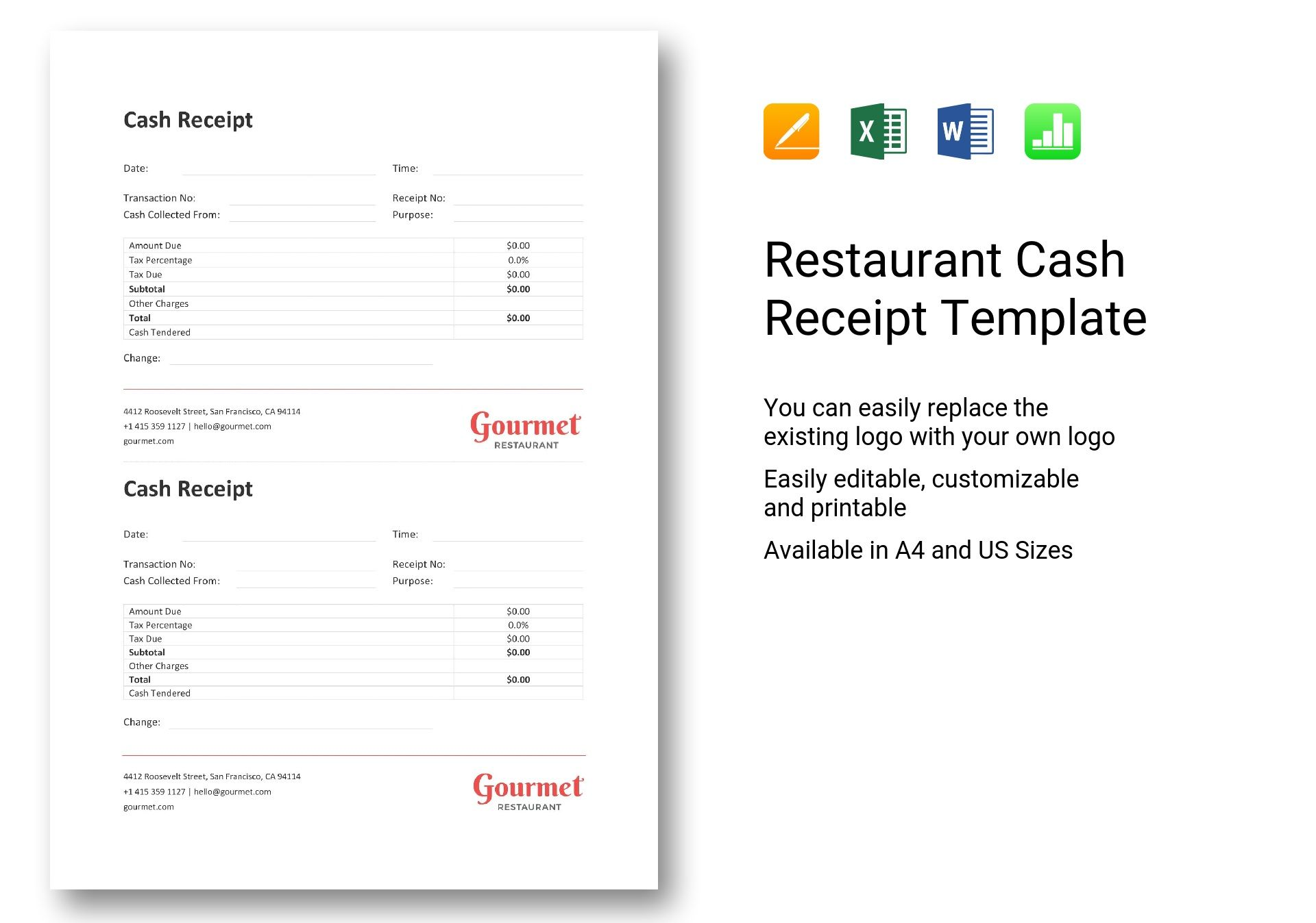 Restaurant Cash Receipt Template In Word Excel Apple Pages Numbers