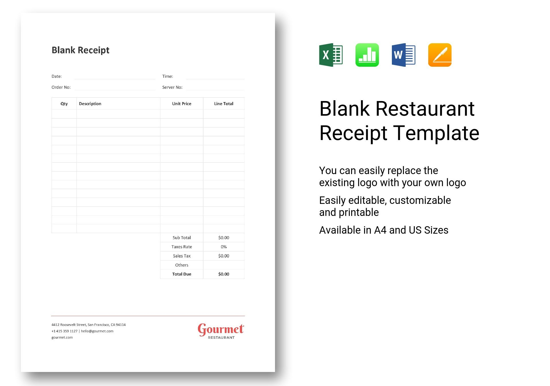 image regarding Blank Receipt Template called Blank Cafe Receipt Template within Term, Excel, Apple