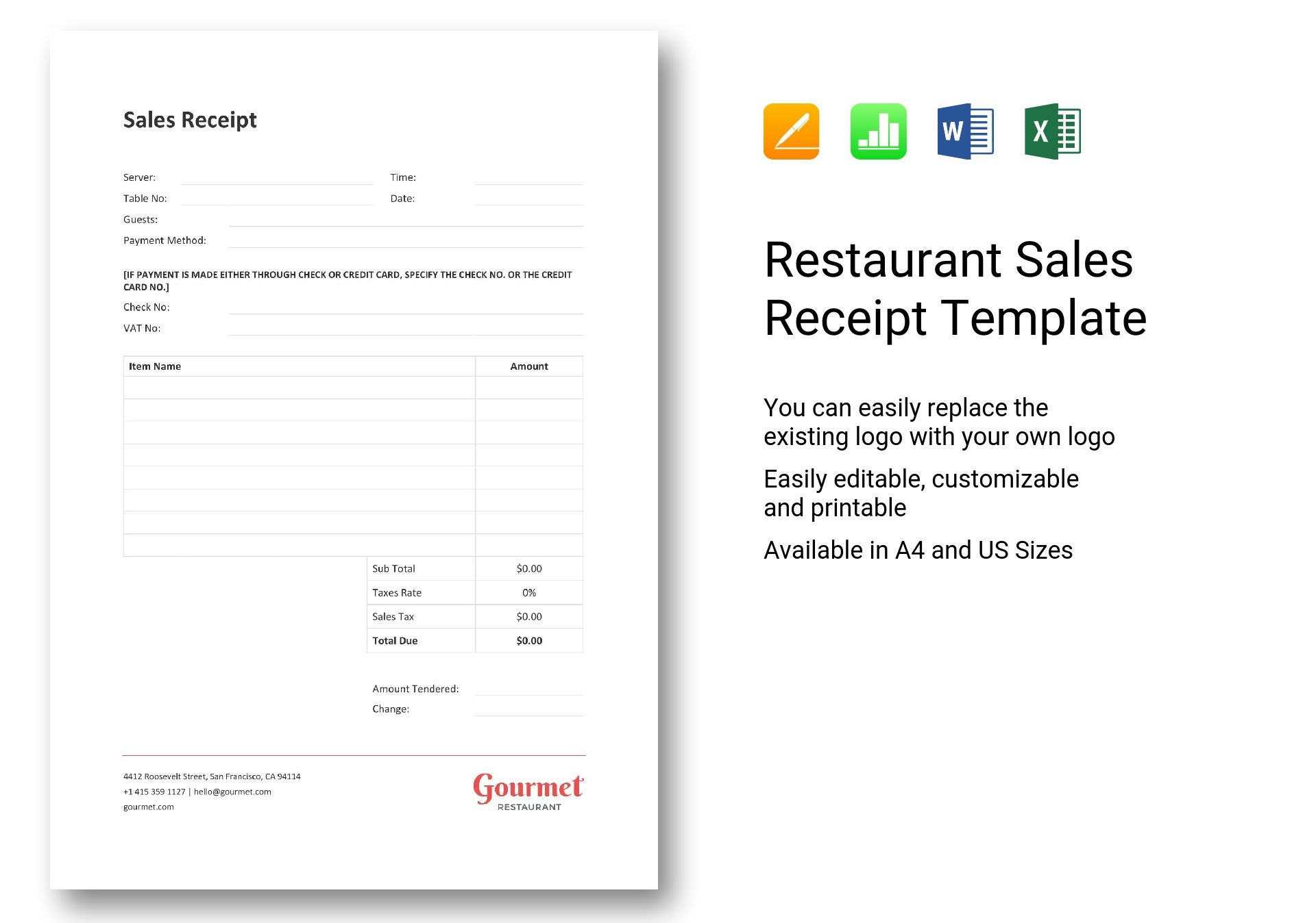 Restaurant Sales Receipt