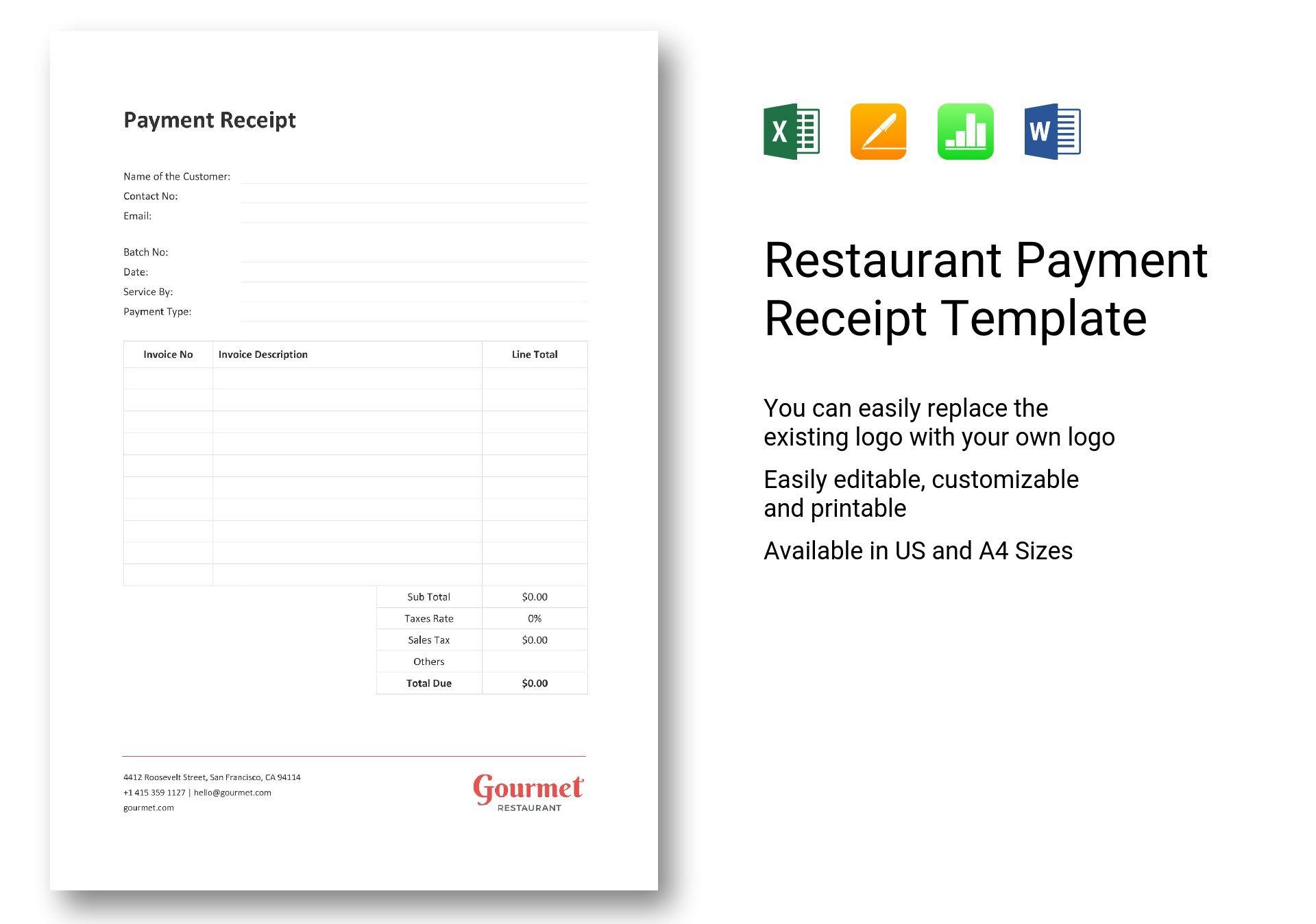 Restaurant Payment Receipt