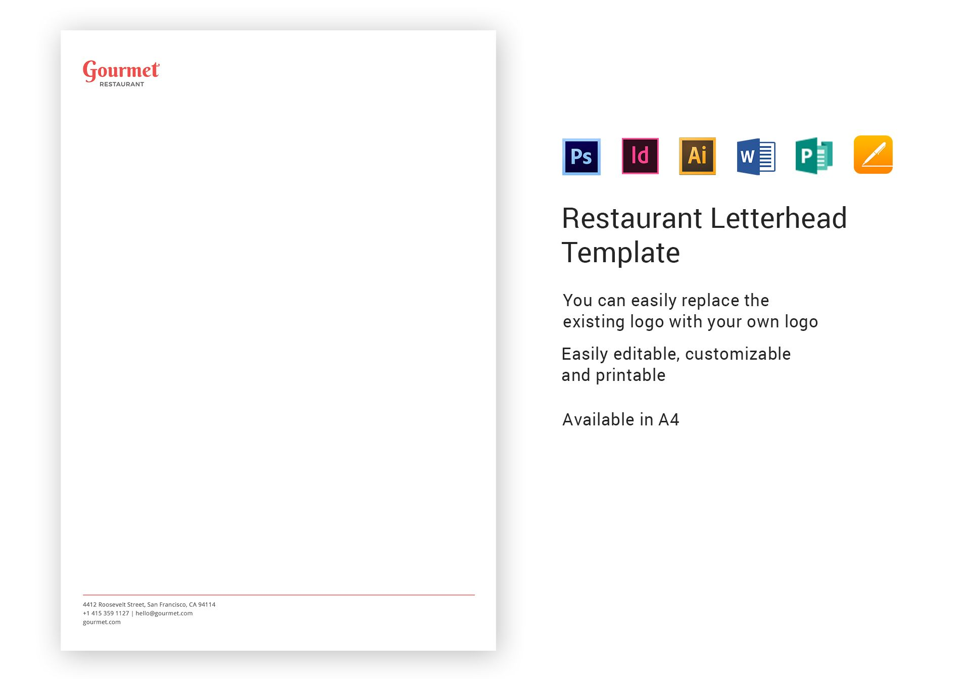 restaurant letterhead template in psd  word  publisher