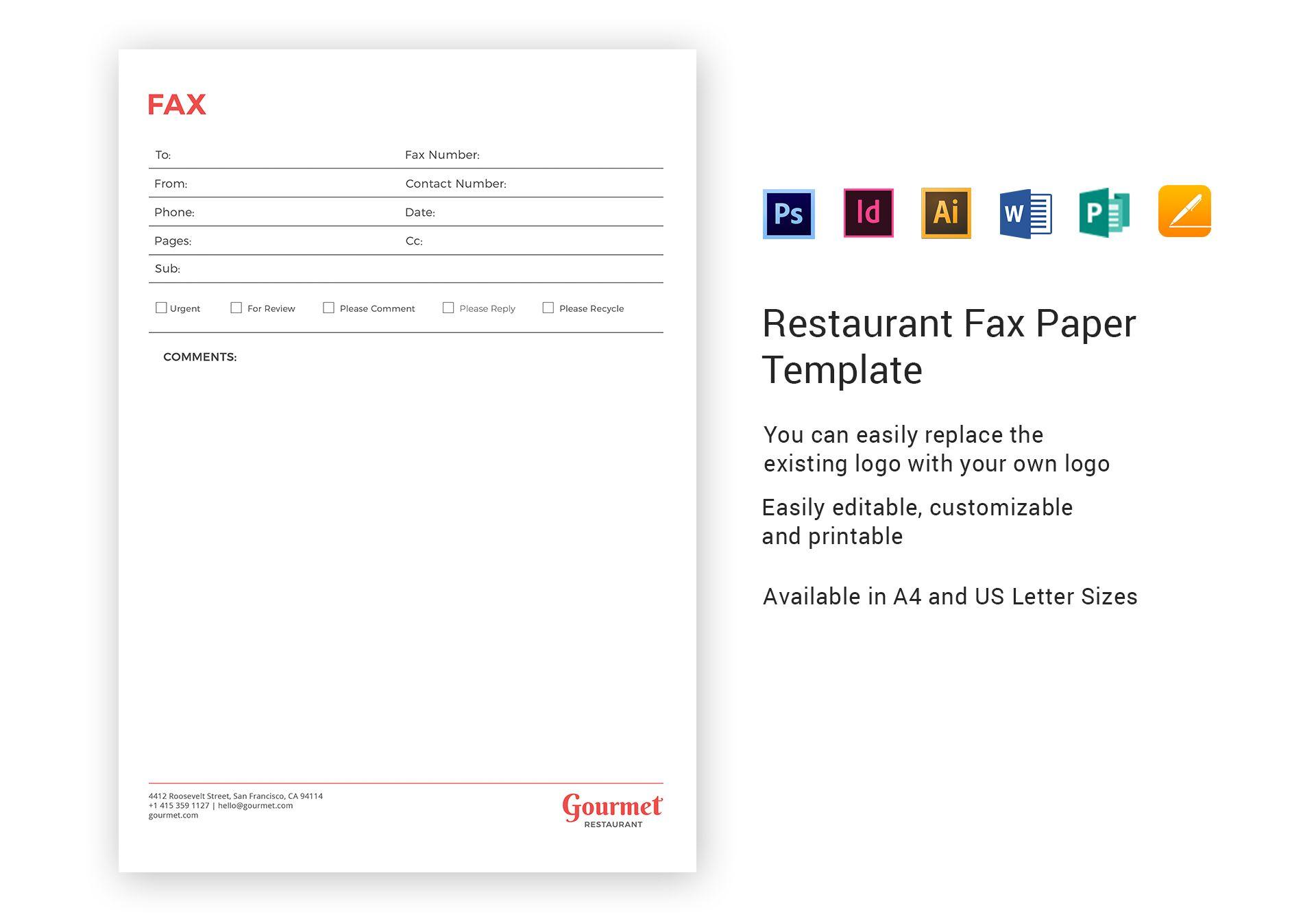 Restaurant Fax Paper Template