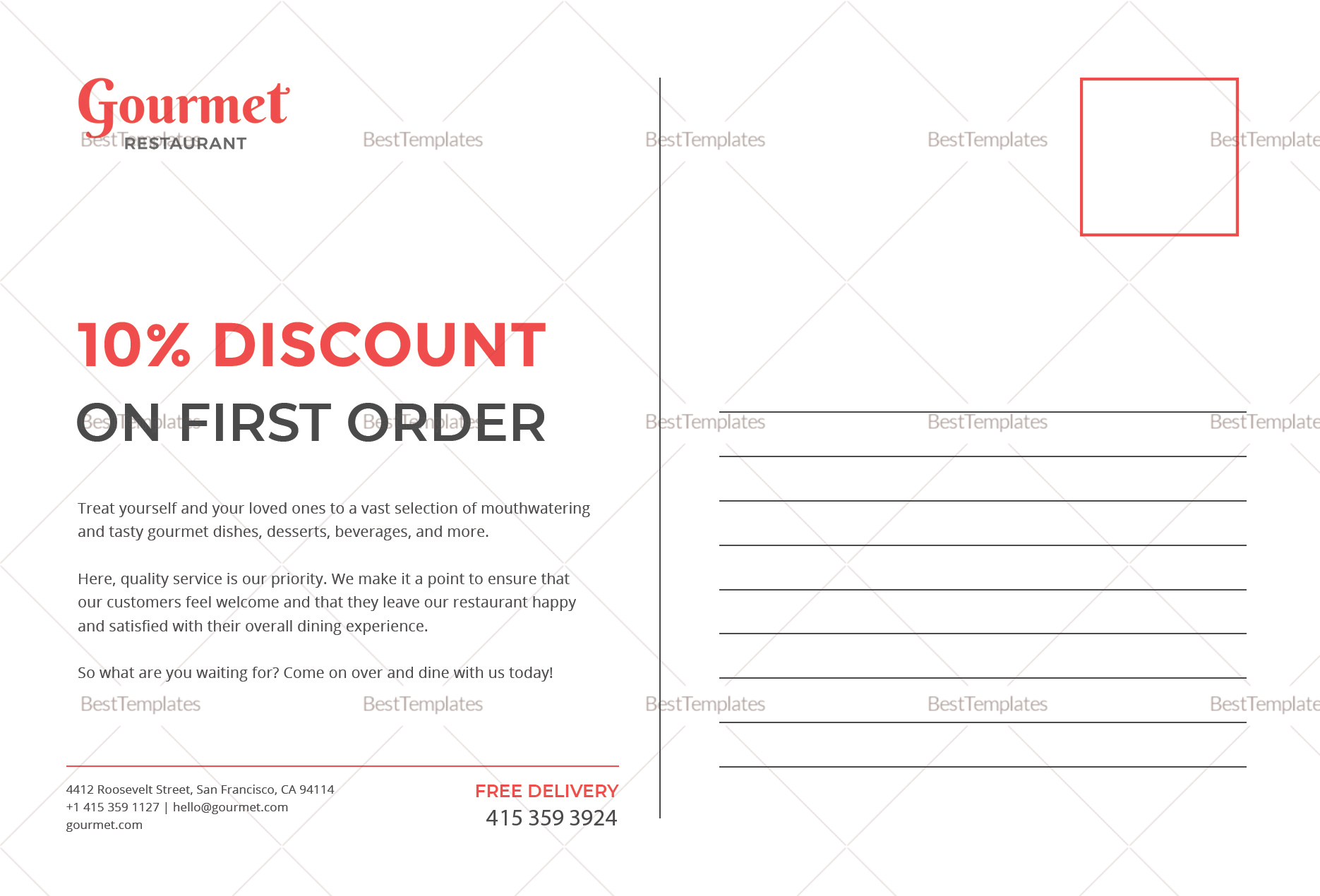 Restaurant Postcard Back Template