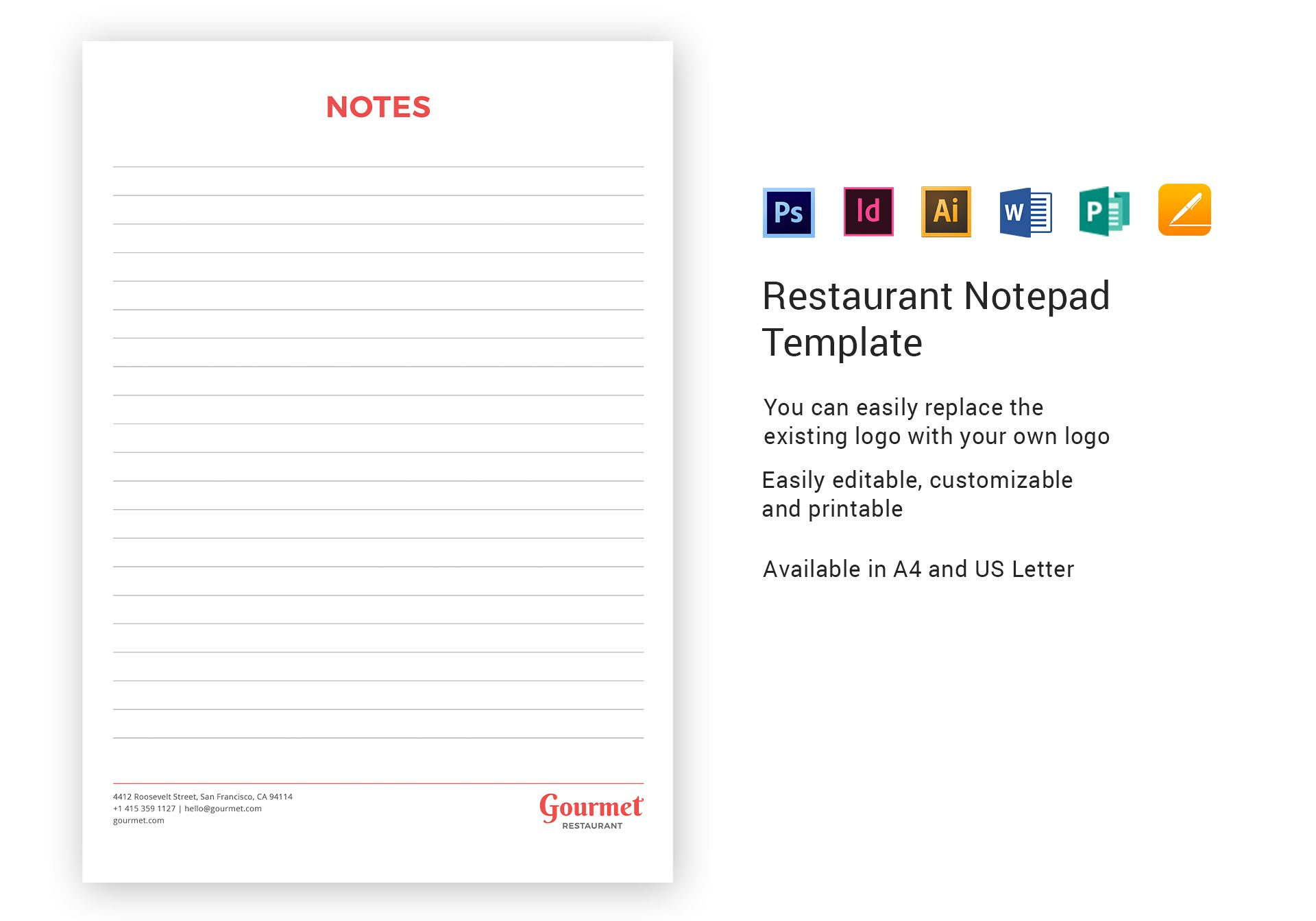 restaurant notepad template in psd word publisher illustrator