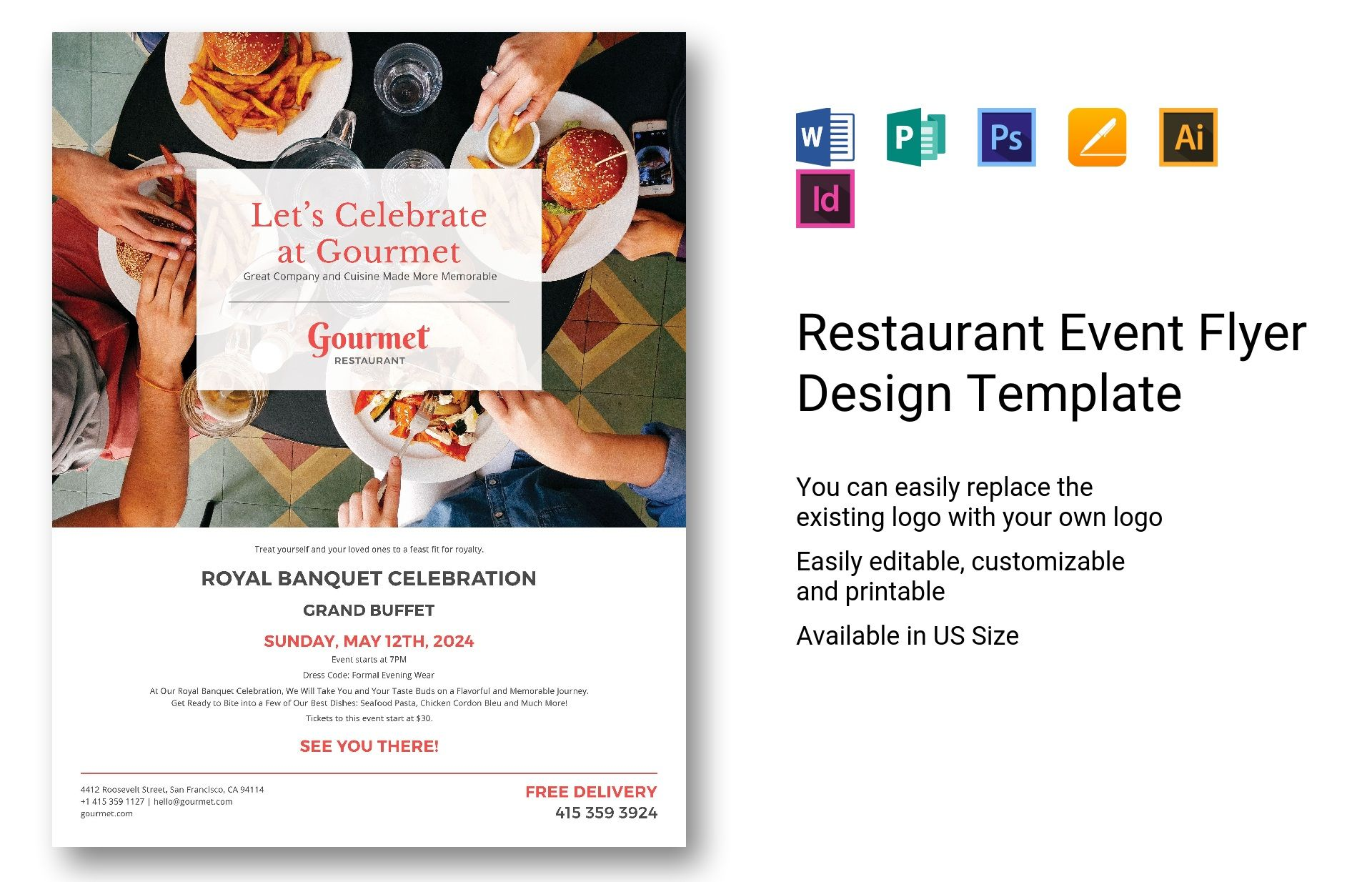 restaurant event flyer design template in psd  word  publisher  illustrator  indesign  apple pages
