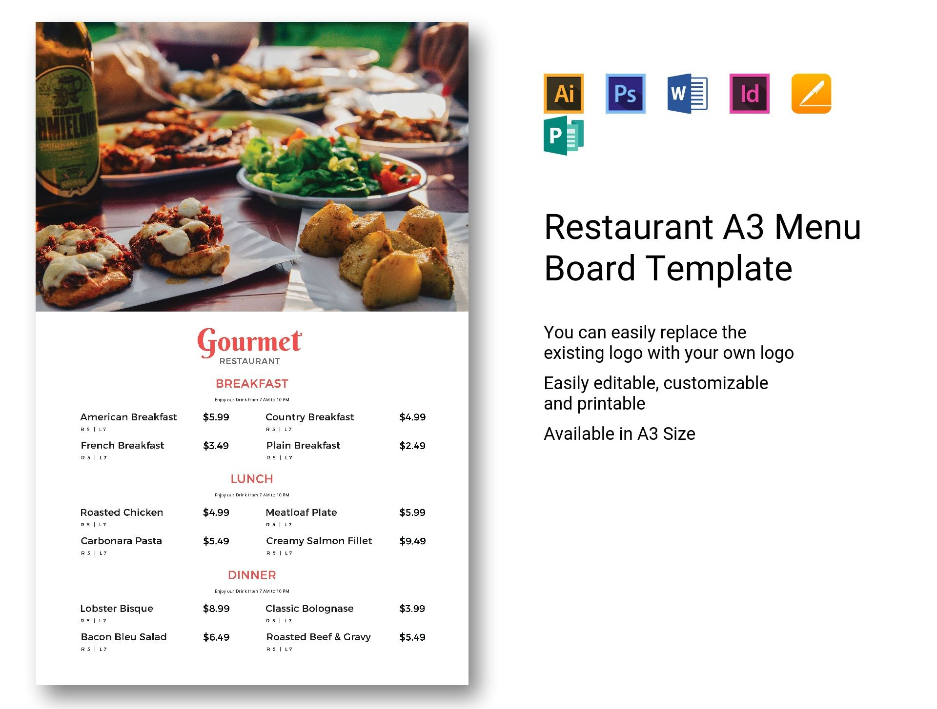 Restaurant A3 Menu Board Template