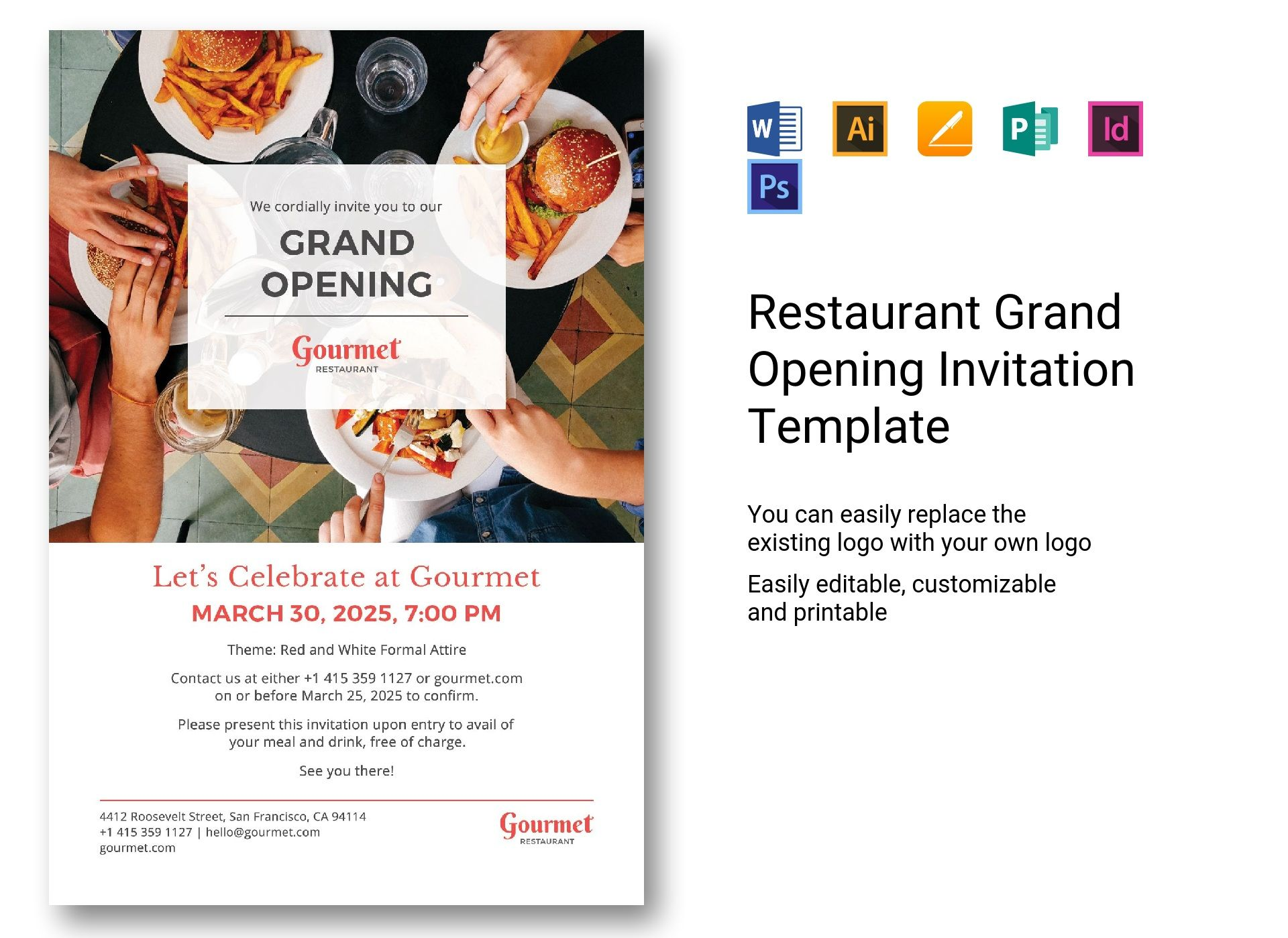 Restaurant Grand Opening Invitation Template In Psd Word Publisher