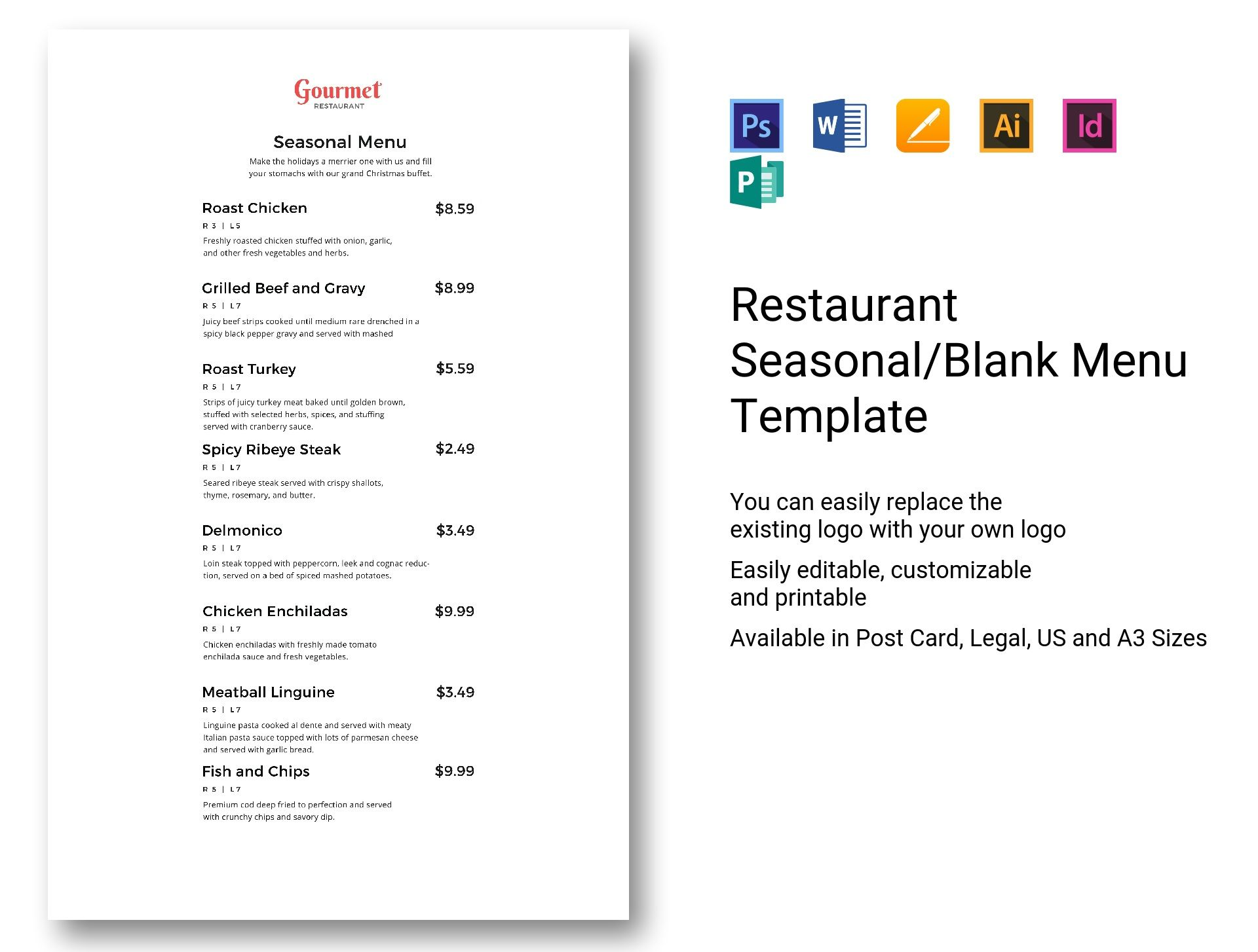 restaurant seasonal blank menu template in psd word publisher