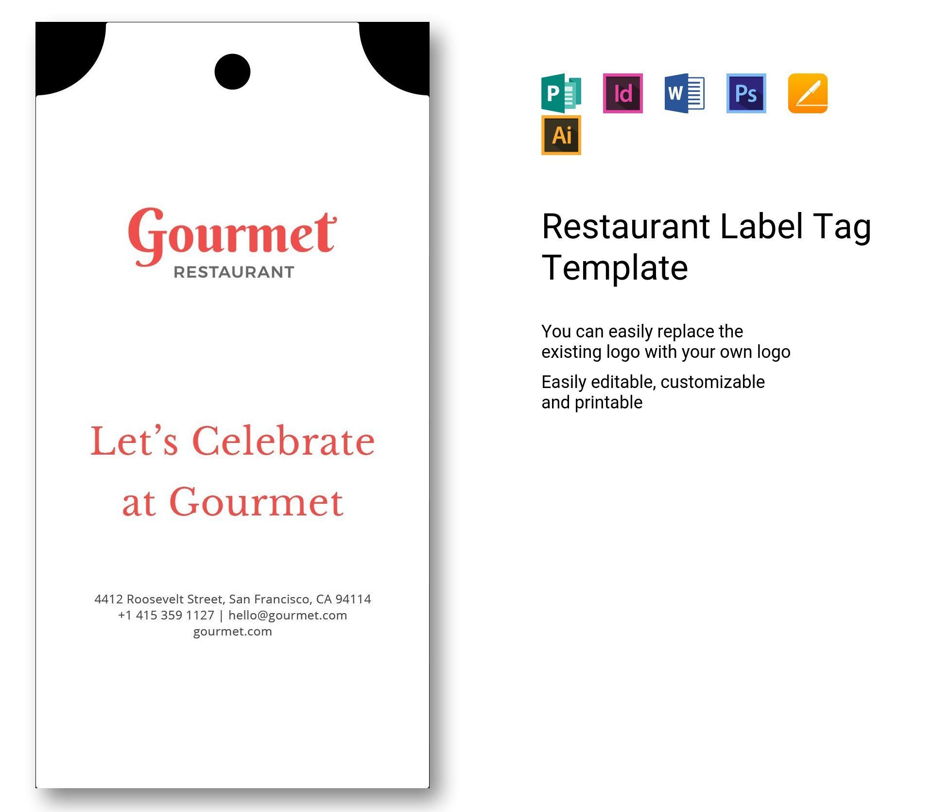 Restaurant Label Tag
