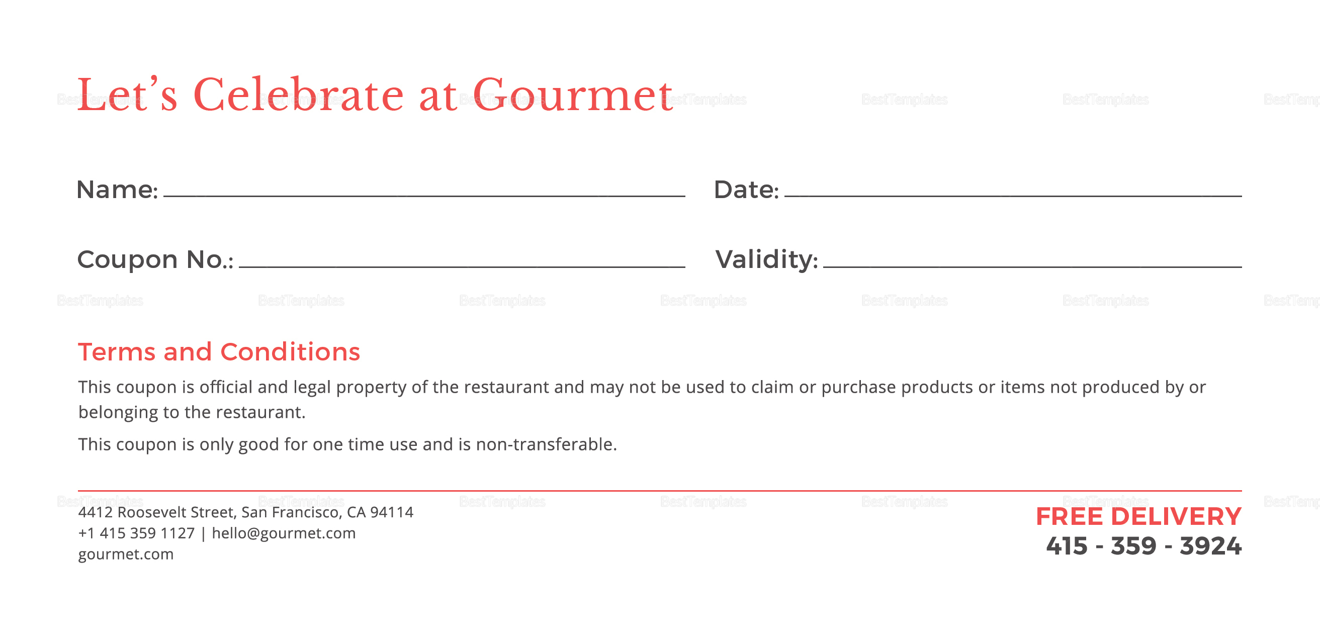 Restaurant Discount Coupon Template to Edit