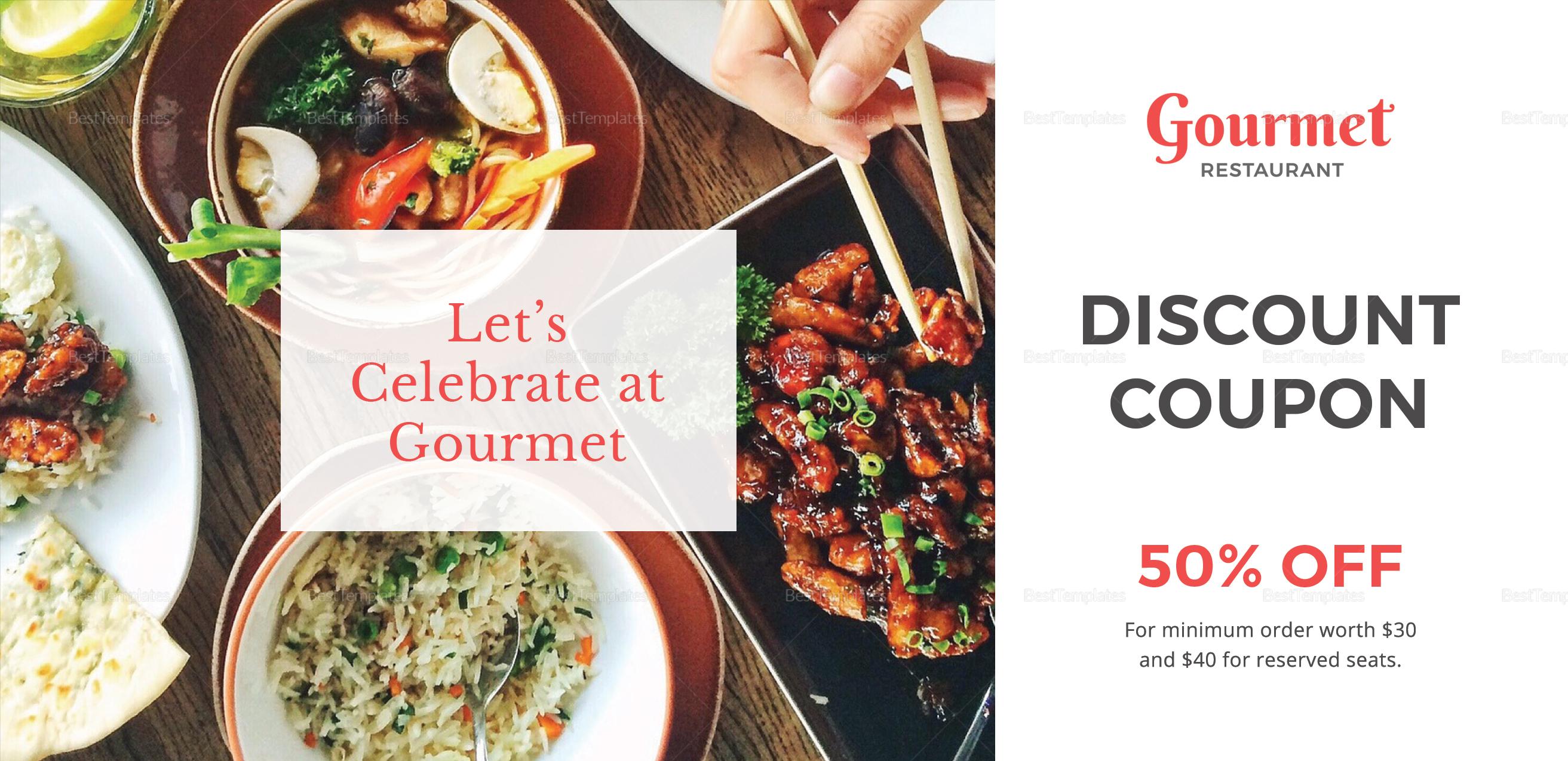 Restaurant Discount Coupon Template