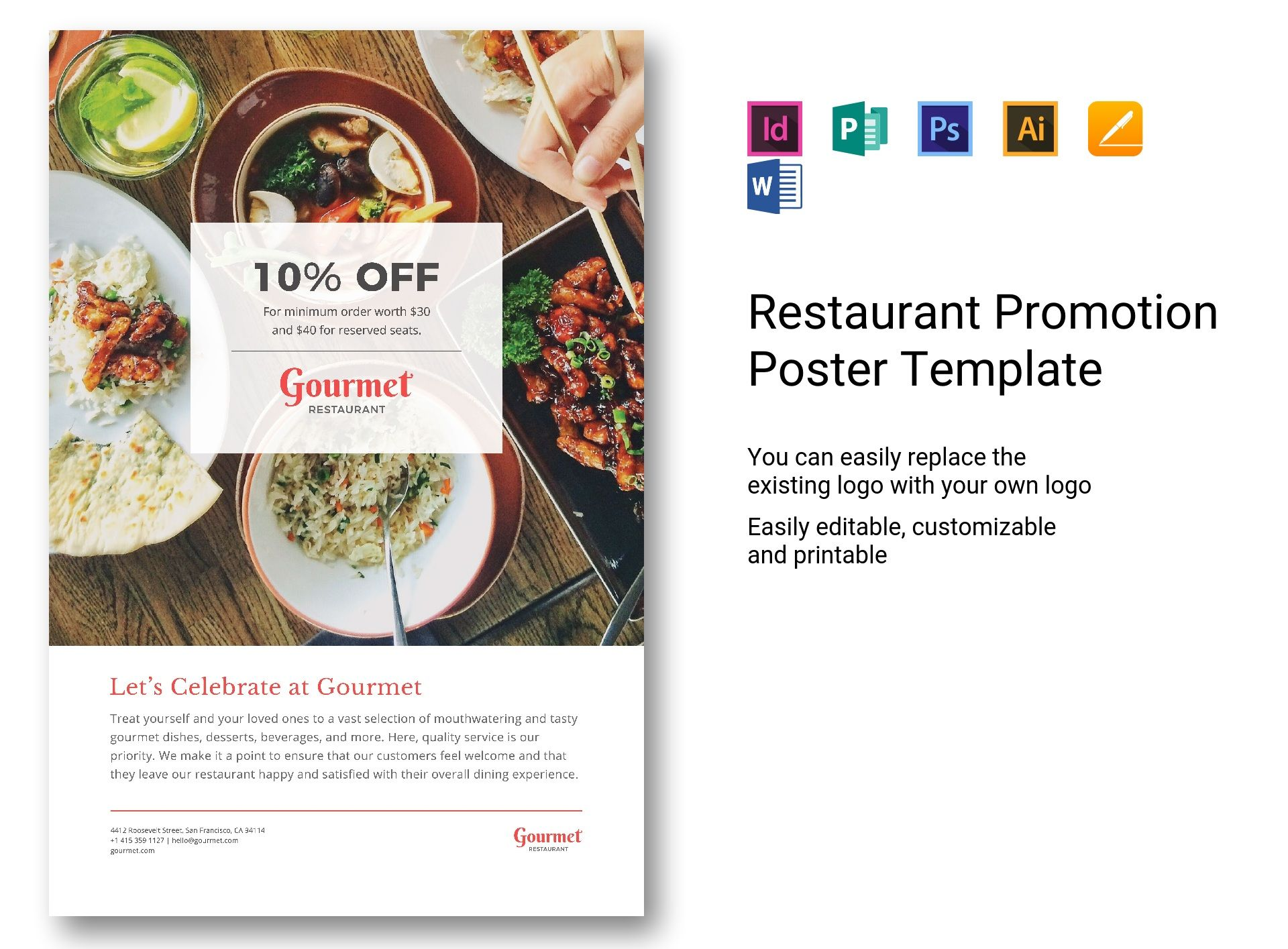 restaurant promotion poster template in psd word publisher