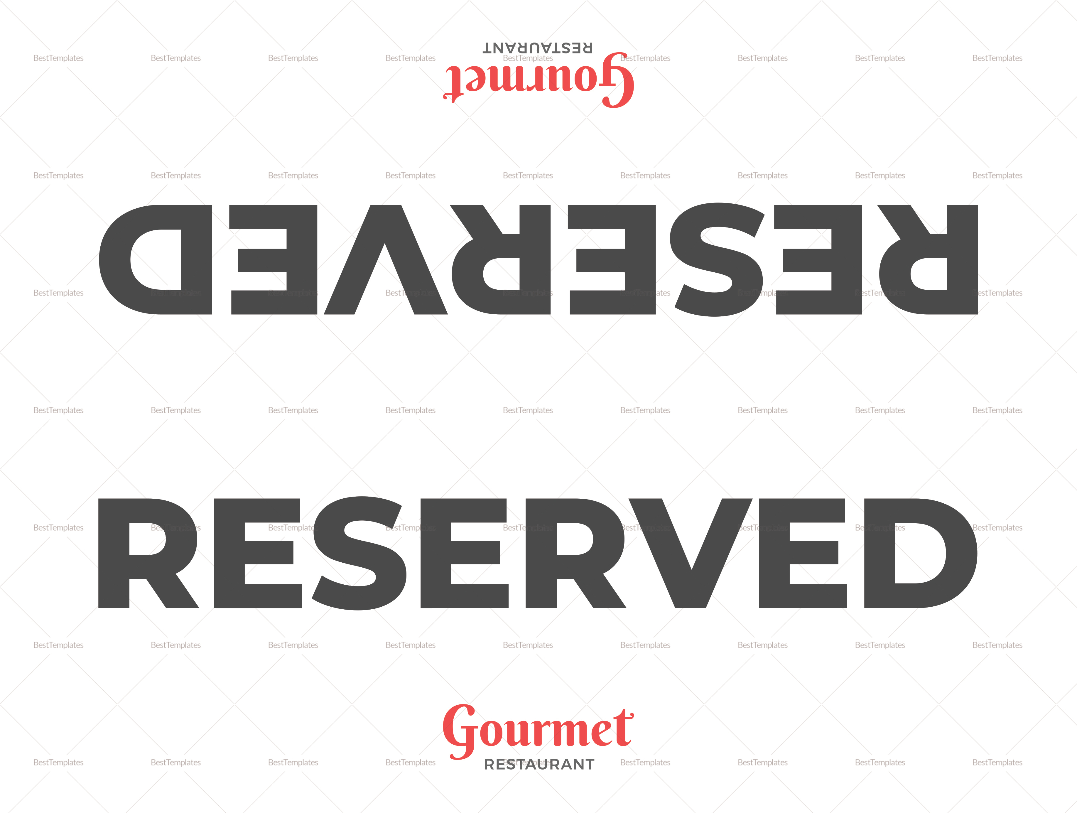 Restaurant Double-Sided Reserved Signs Template