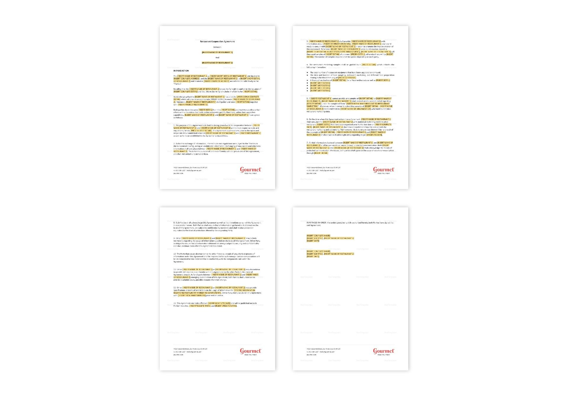 Restaurant Cooperation Agreement Template in MS Word, Pages