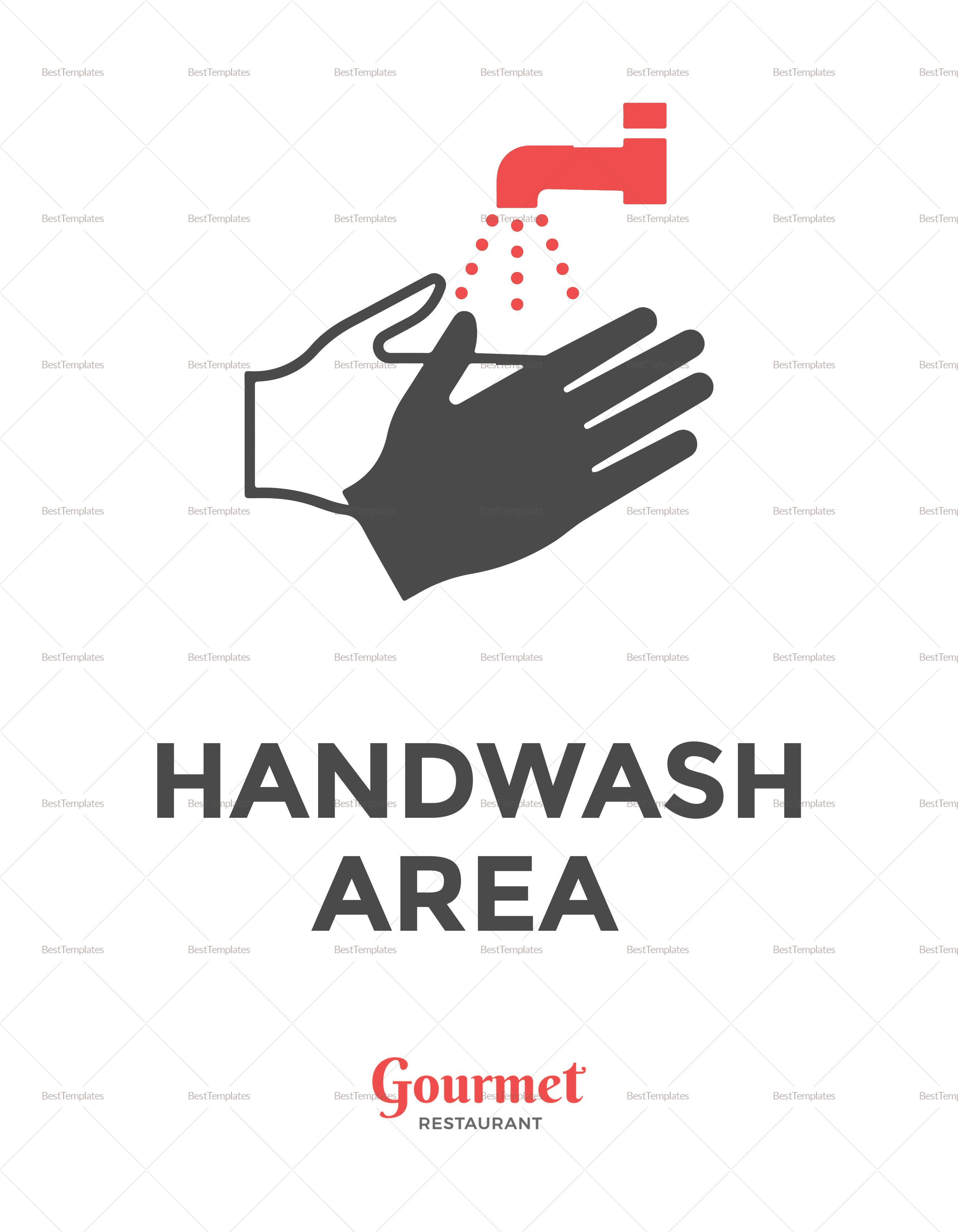 Restaurant Handwash Sign Template
