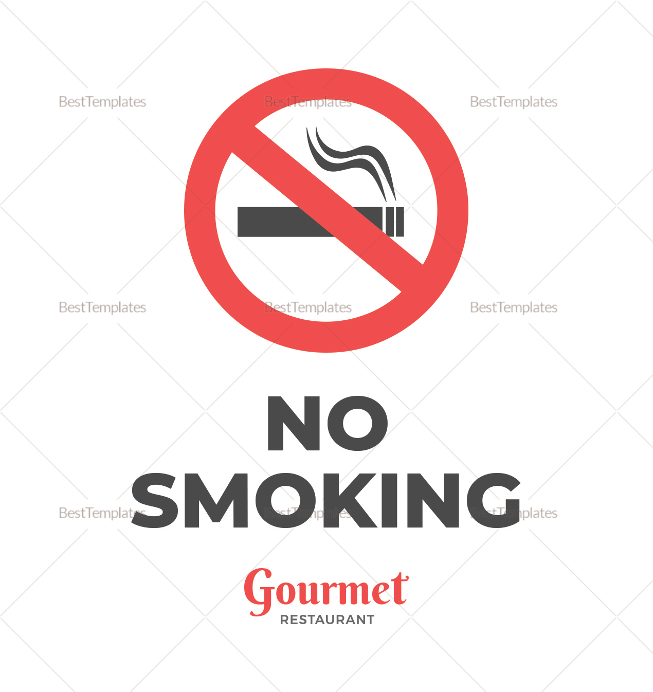 Restaurant No Smoking Sign Template
