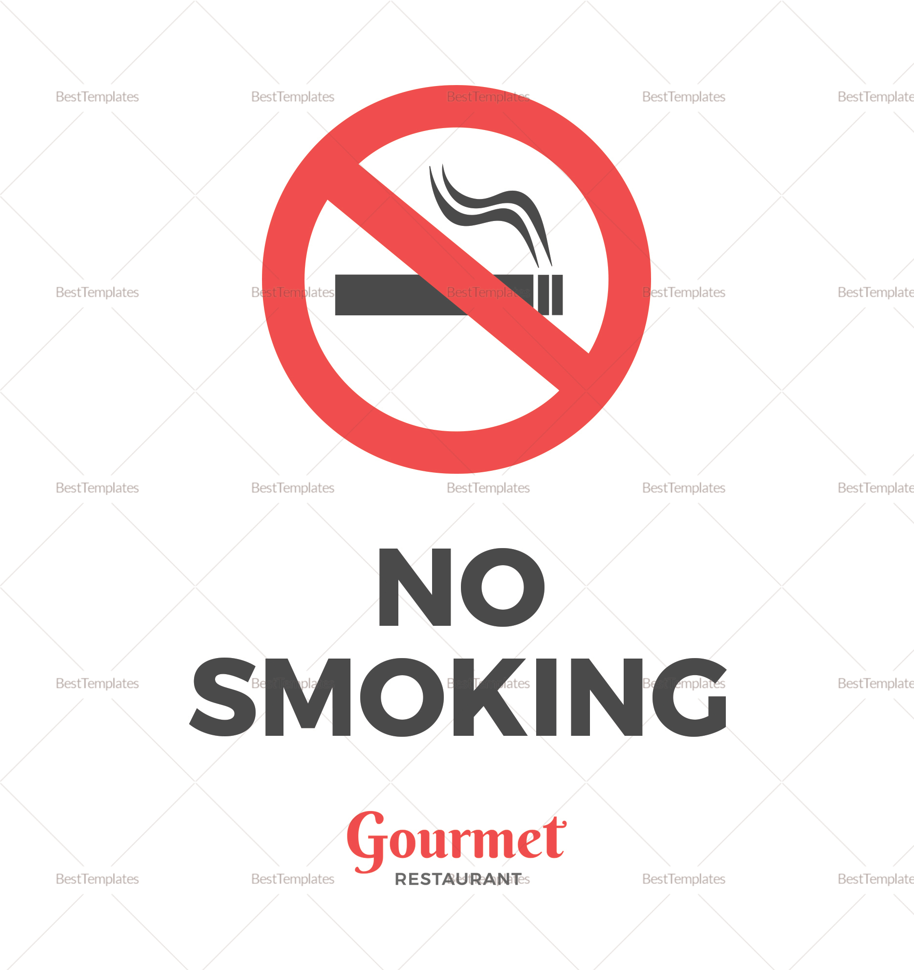 Sample Restaurant No Smoking Sign Template