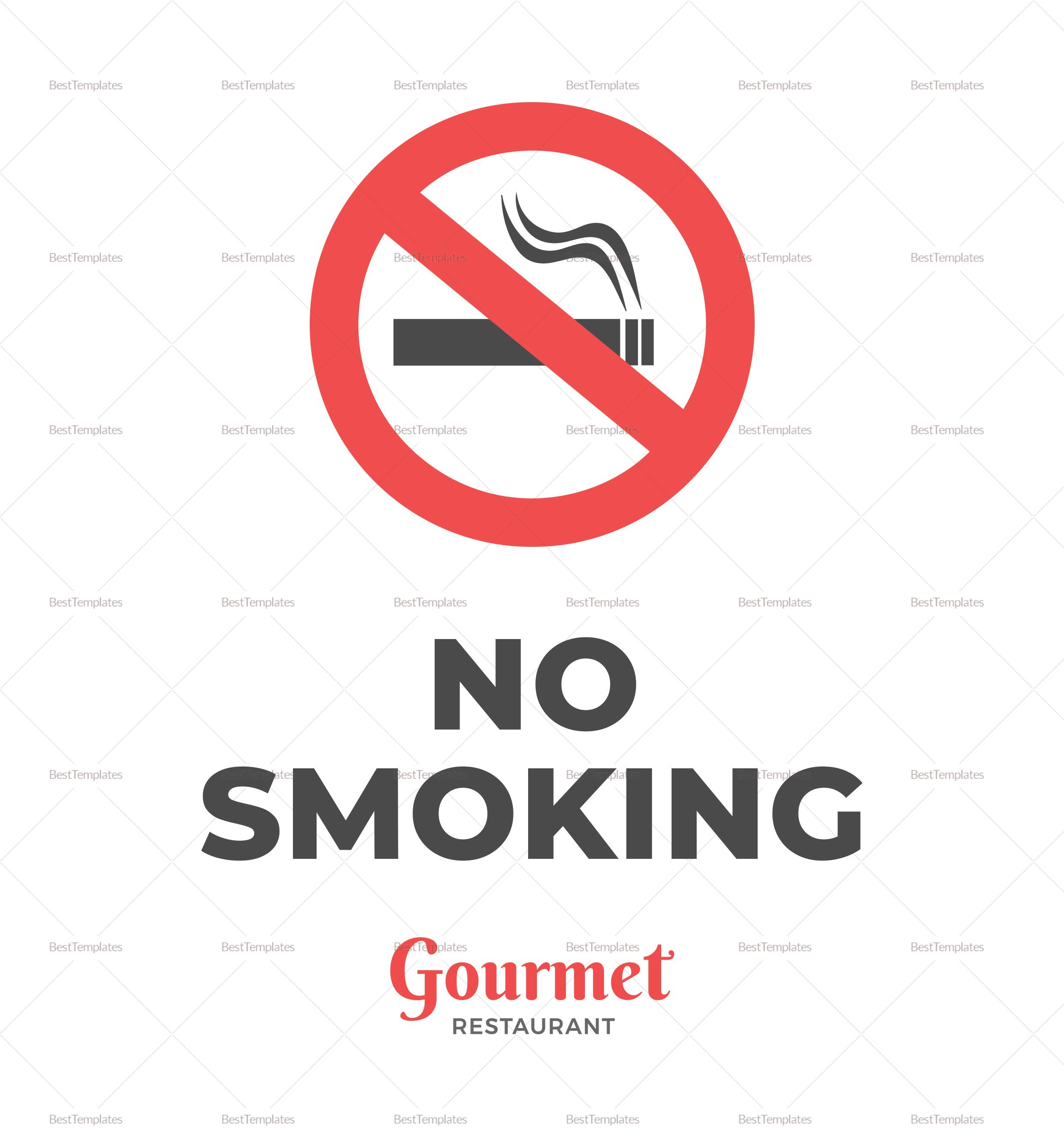 Simple Restaurant No Smoking Sign