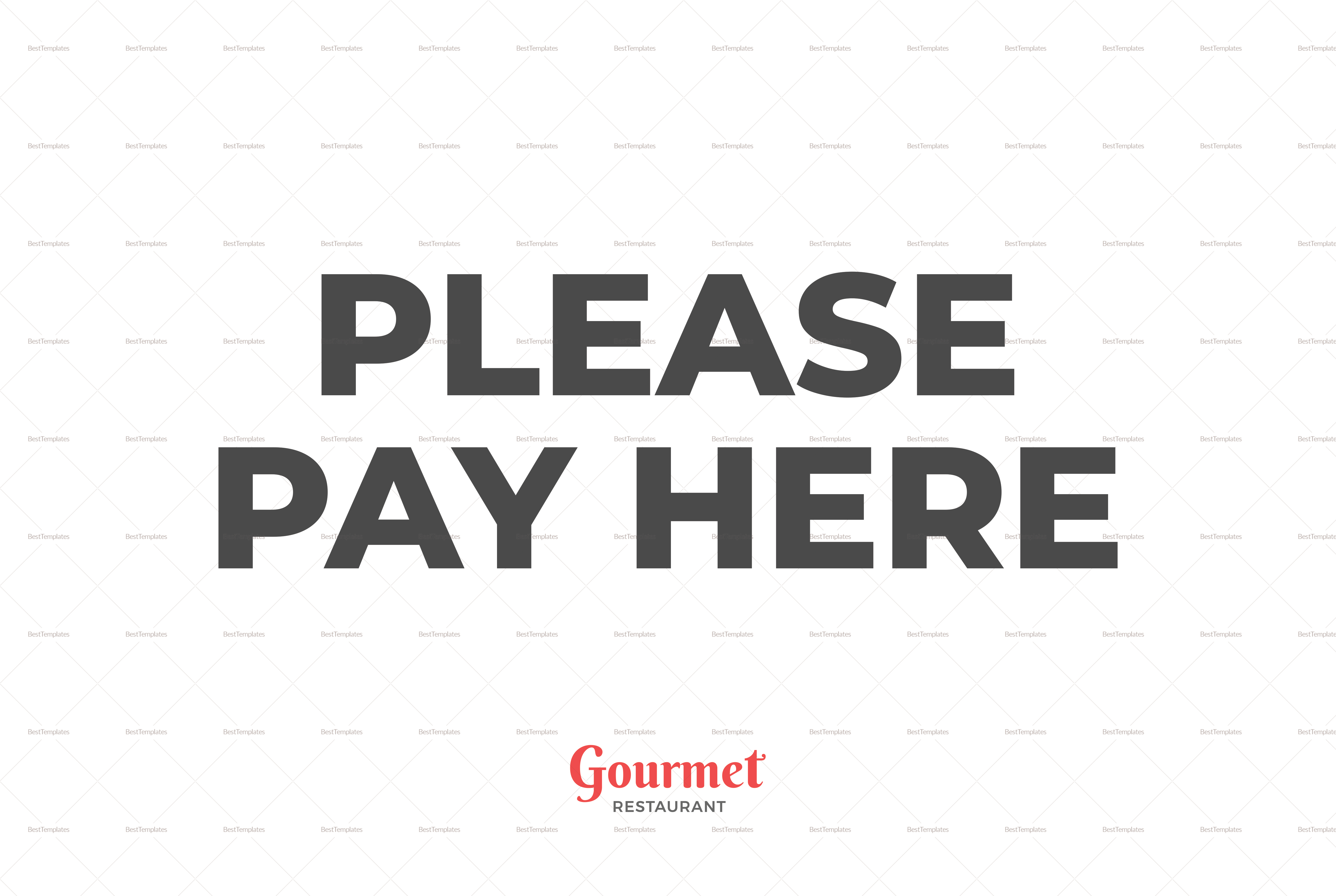 Restaurant Pay Here Sign Template