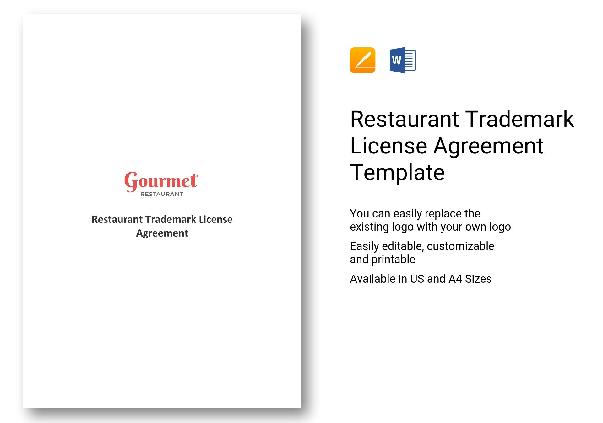 Restaurant Trademark License Agreement Template In Ms Word Pages