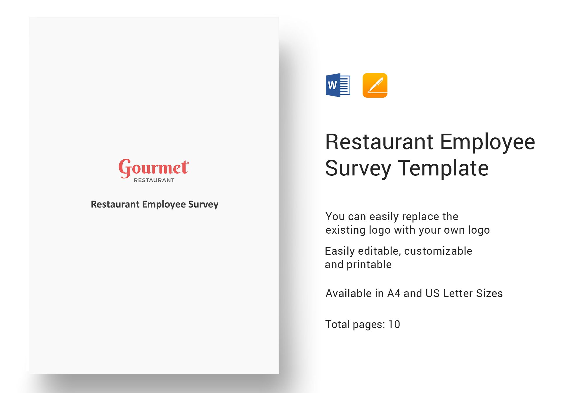 restaurant employee survey template in word  apple pages